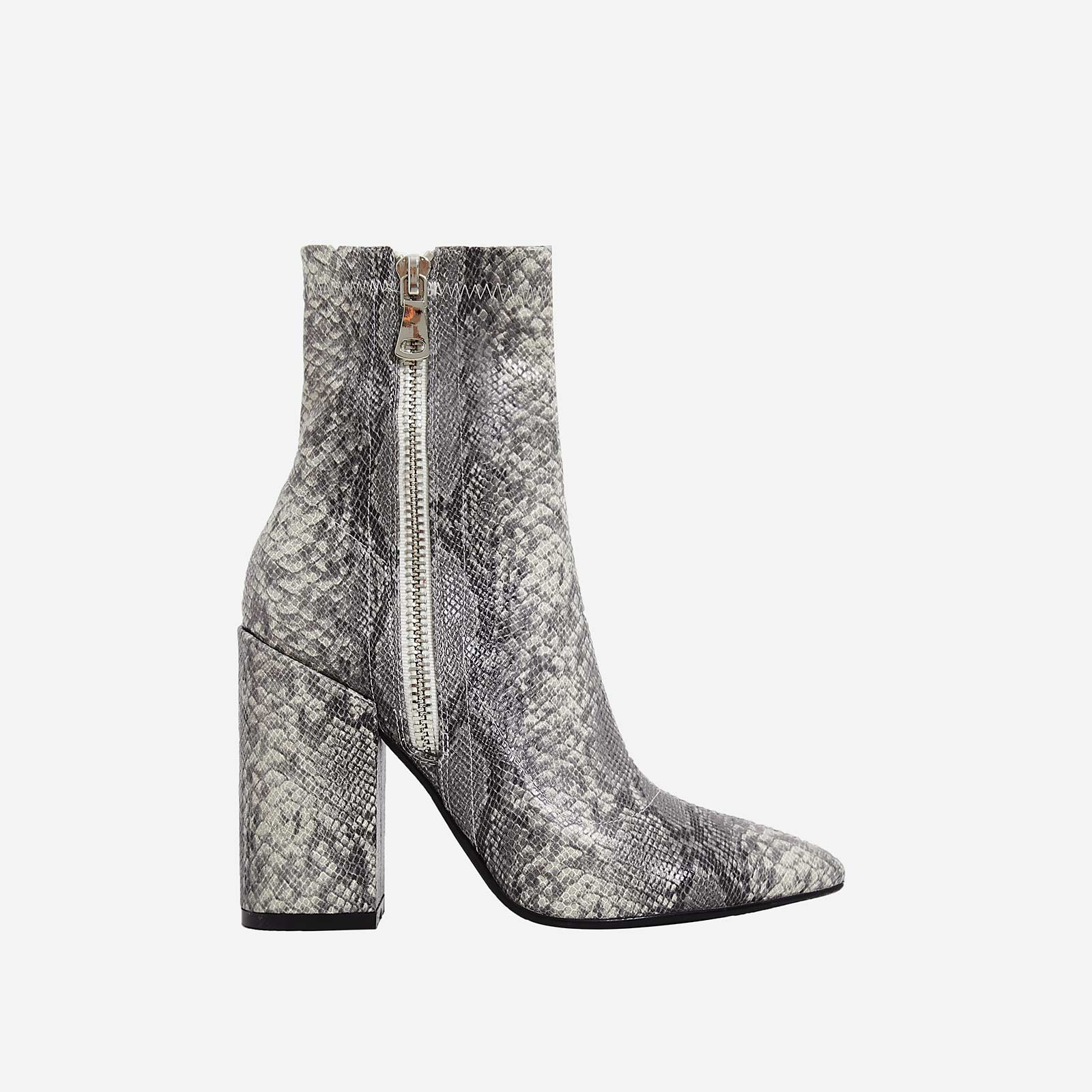 Lucian Block Heel Ankle Boot In Grey Snake Print Faux Leather