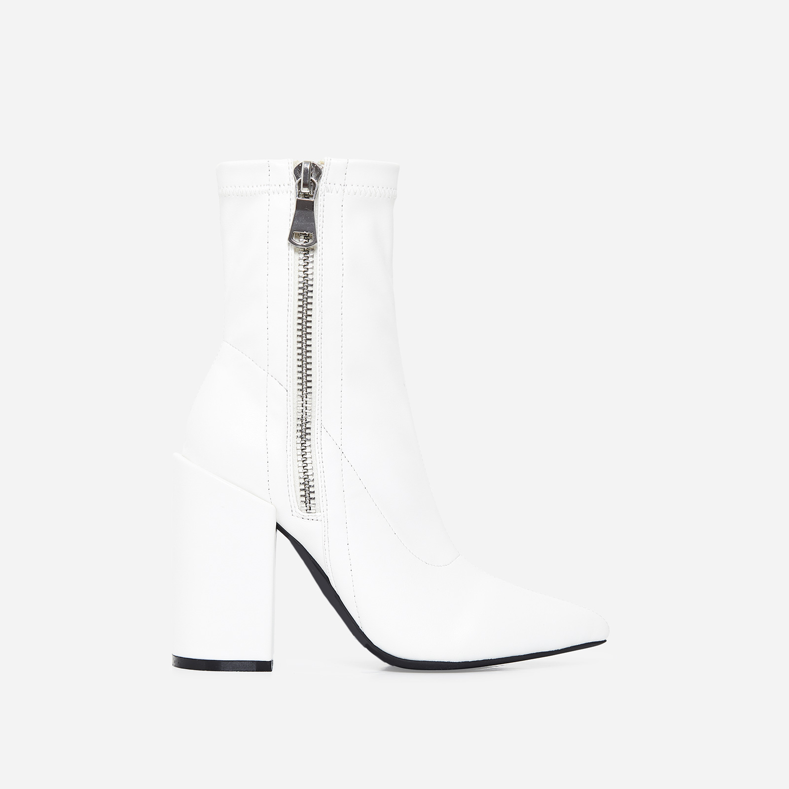 Lucian Block Heel Ankle Boot In White Faux Leather