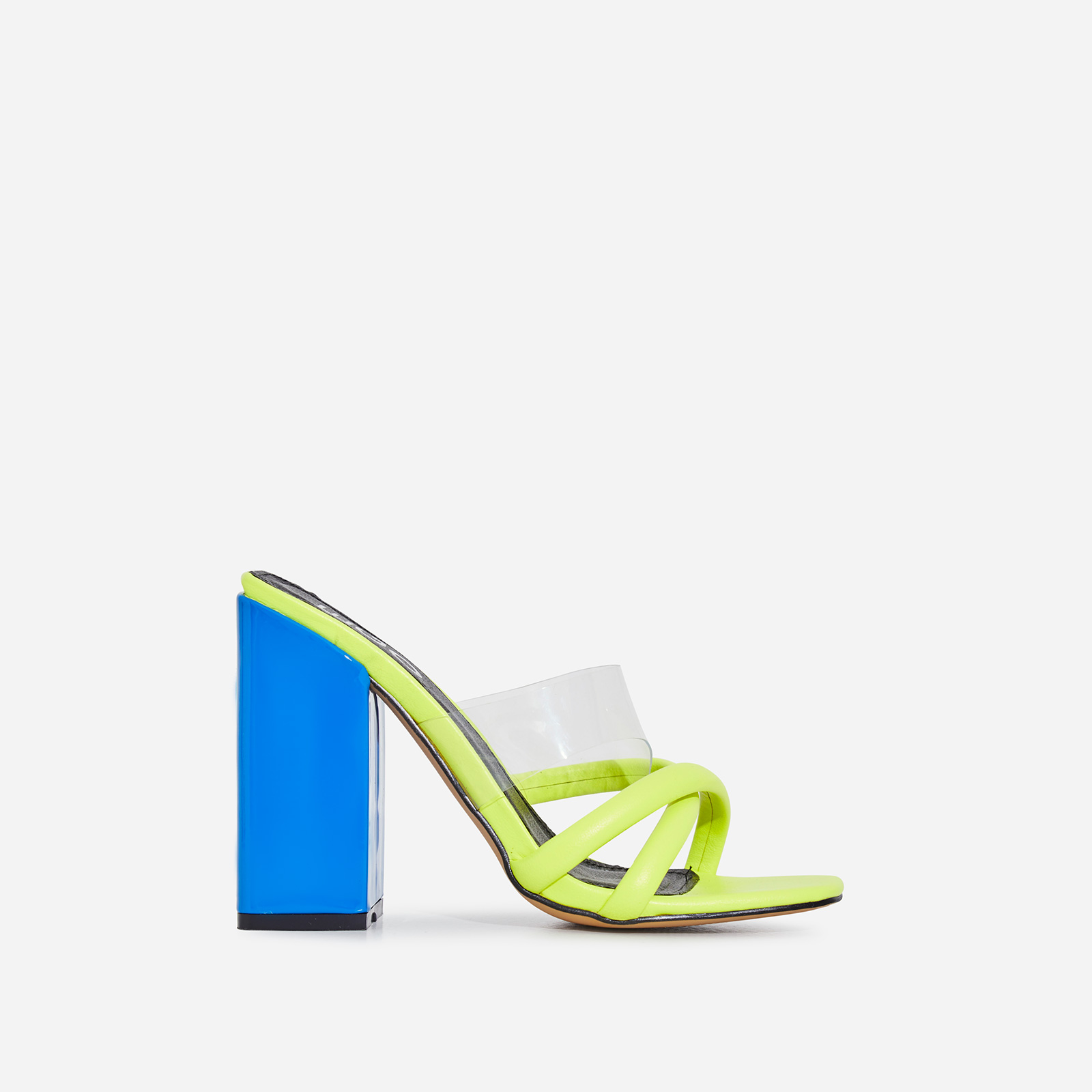 Lumi Square Toe Perspex Block Heel Mule In Lime Green Faux Leather