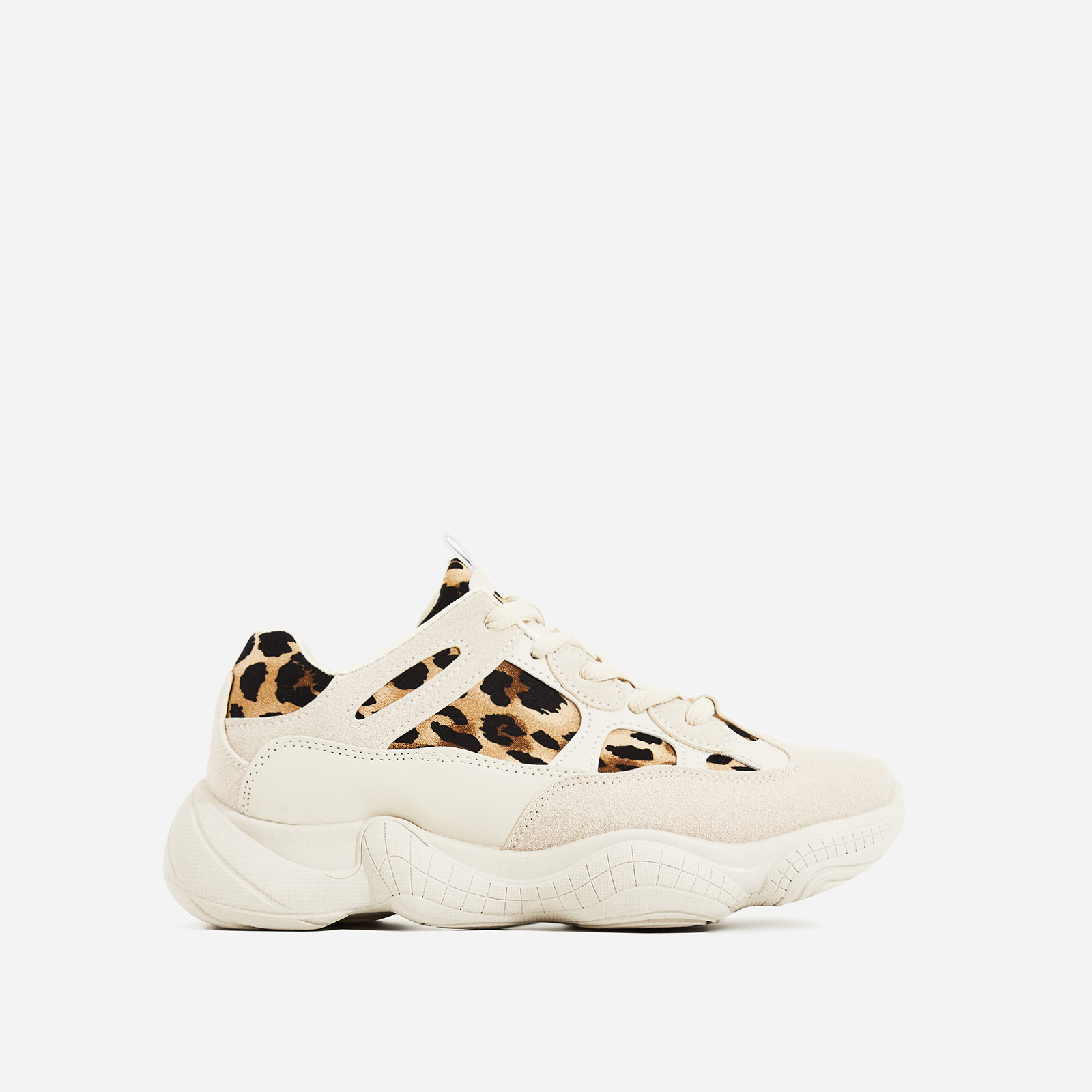 Kane Chunky Sole Mesh Trainer In Leopard Print and Nude Suede