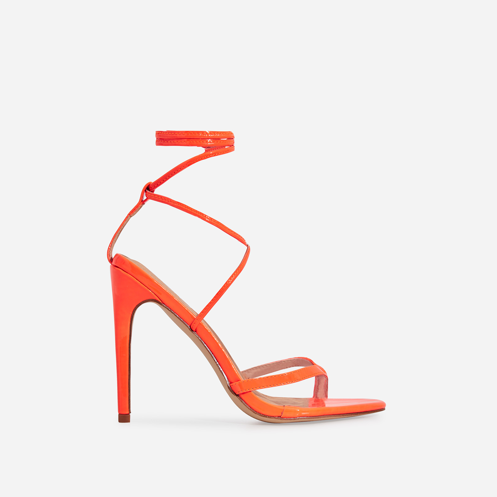 Malina Lace Up Heel In Orange Patent