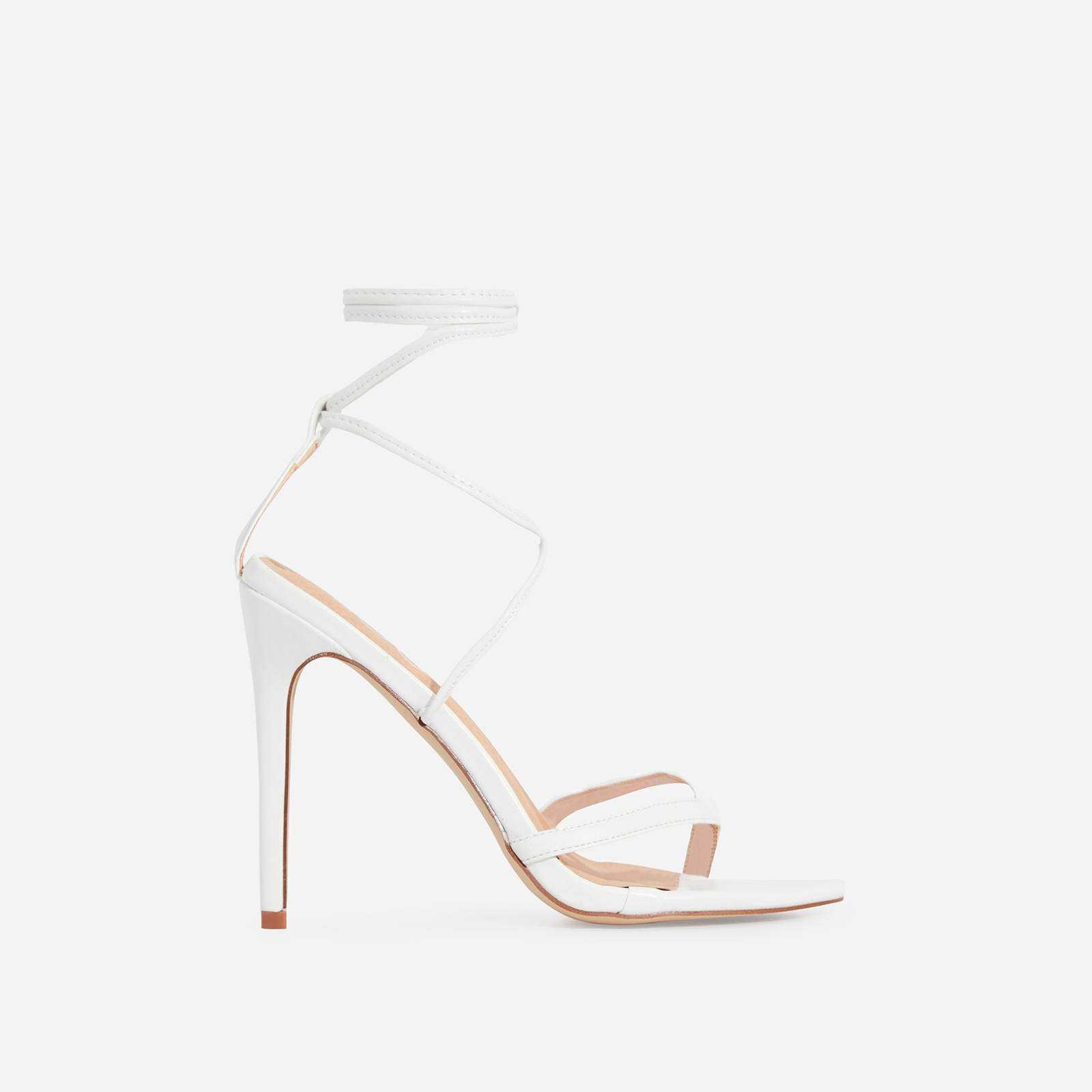 Malina Lace Up Heel In White Faux Leather