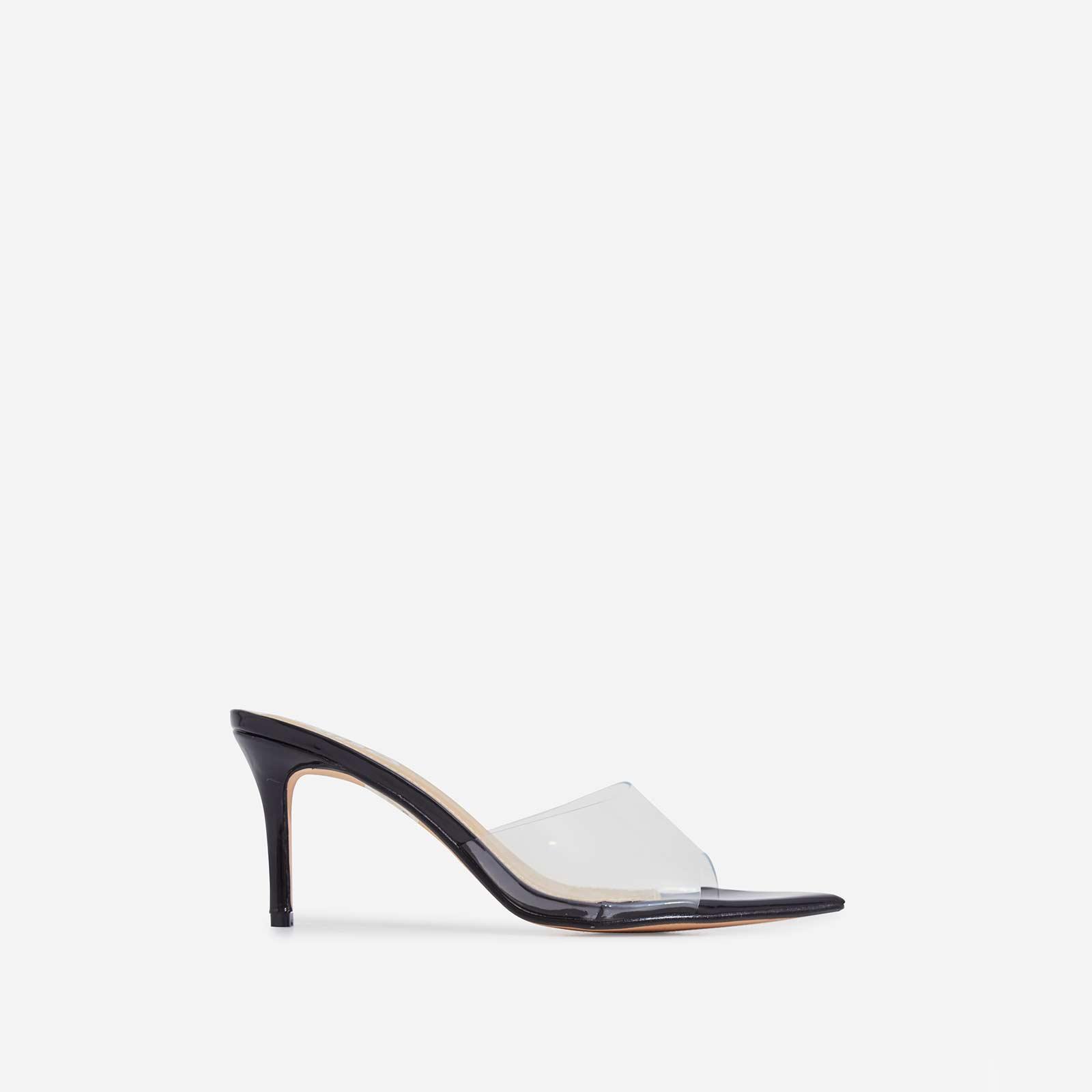 Maelle Pointed Peep Toe Perspex Heel Mule In Black Patent