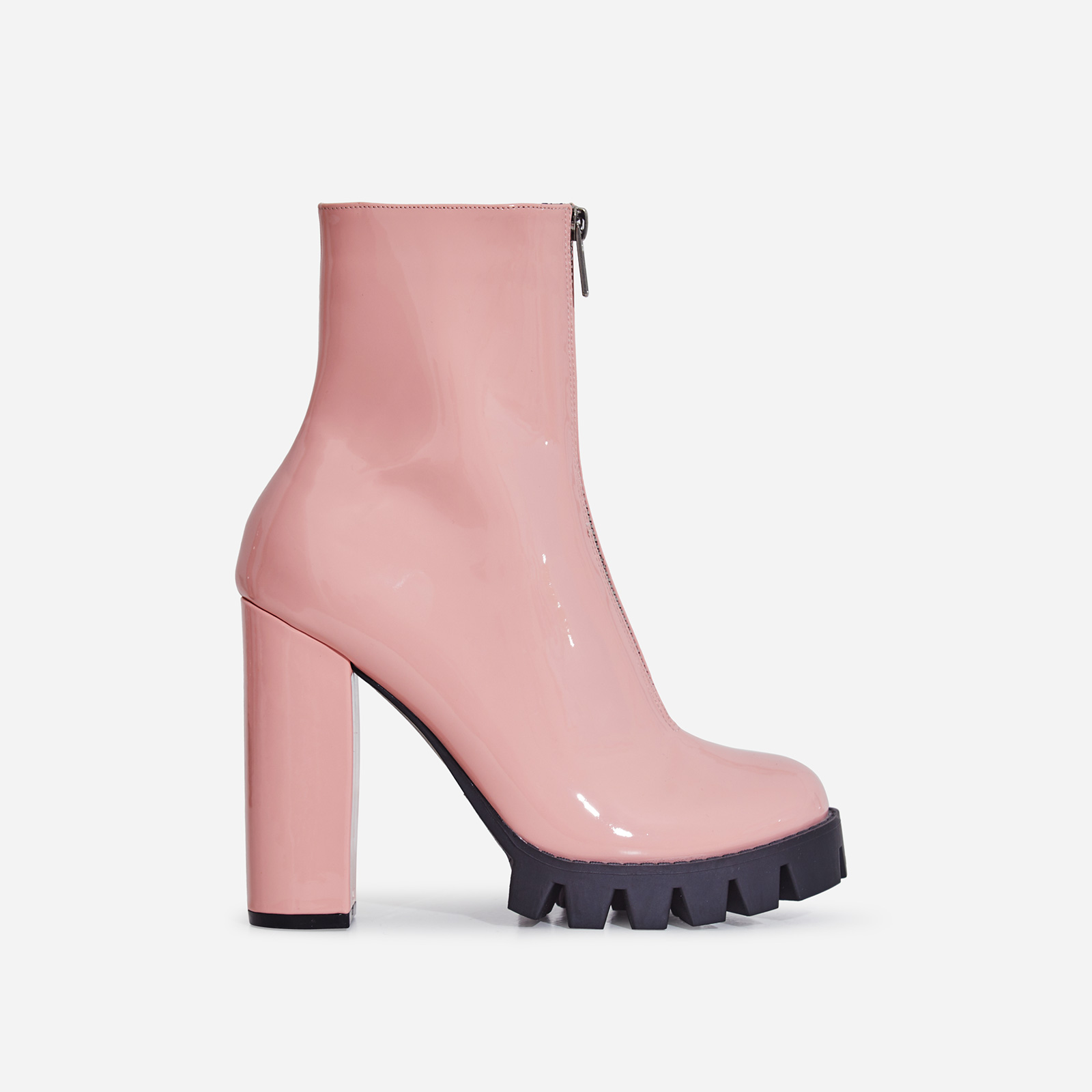 Mamba Zip Detail Cleated Sole Ankle Boot In Pink Patent