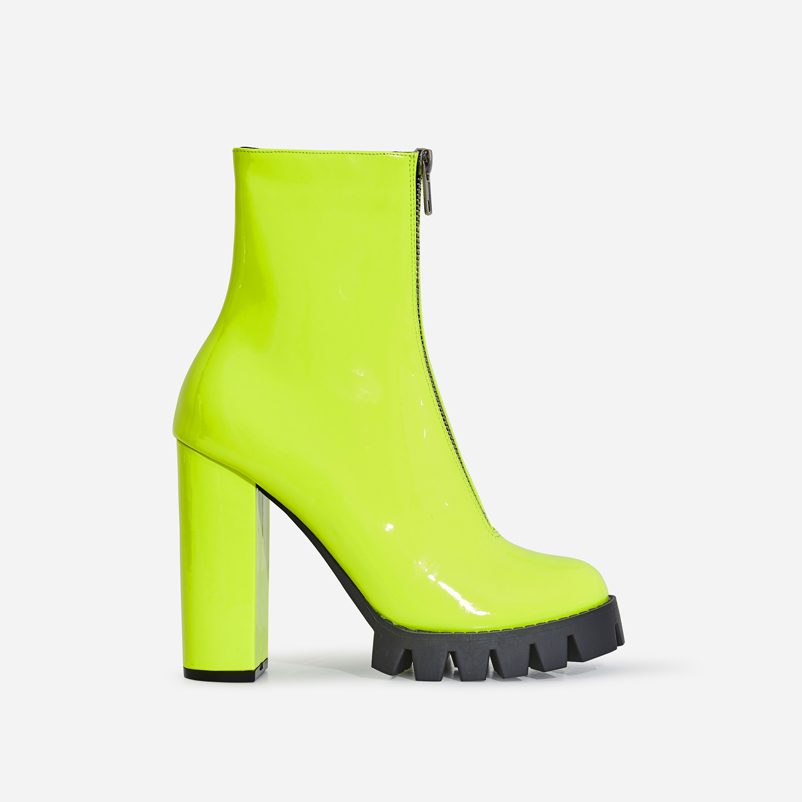 Mamba Zip Detail Cleated Sole Ankle Boot In Neon Yellow Patent