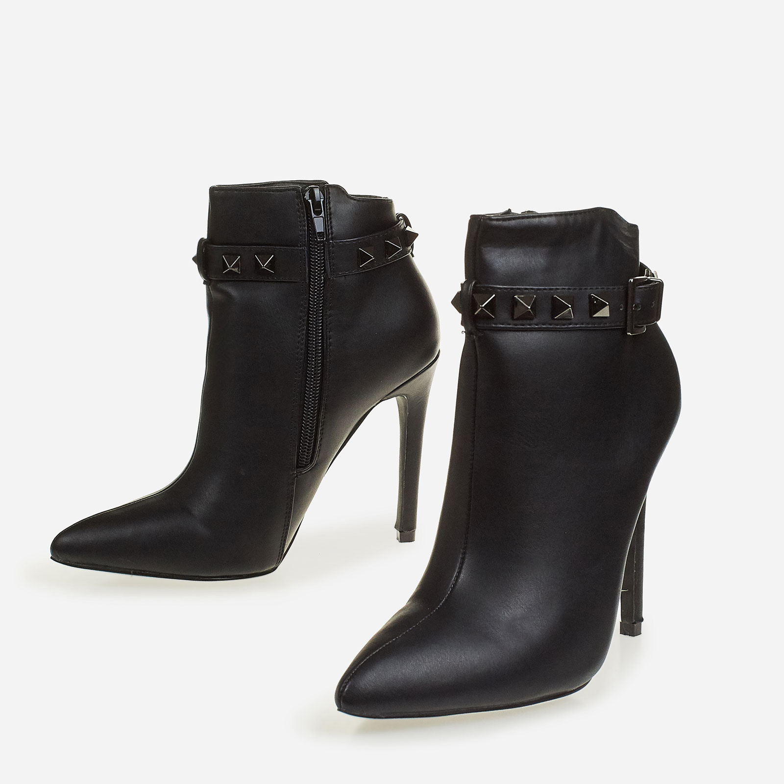 Danni Studded Detail Ankle Boot In Black Faux Leather