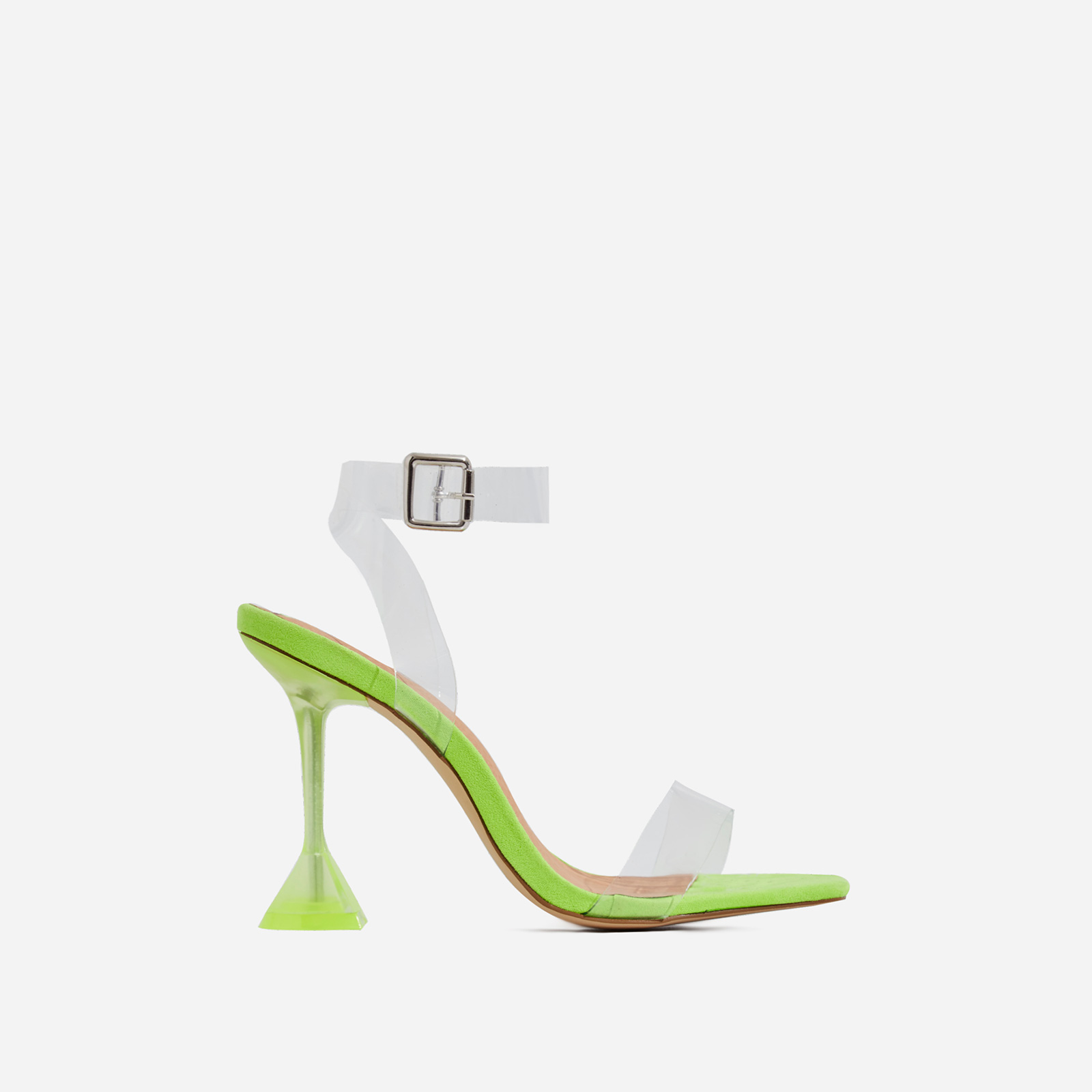 Marca Barley There Square Toe Perspex Heel In Lime Green Faux Suede