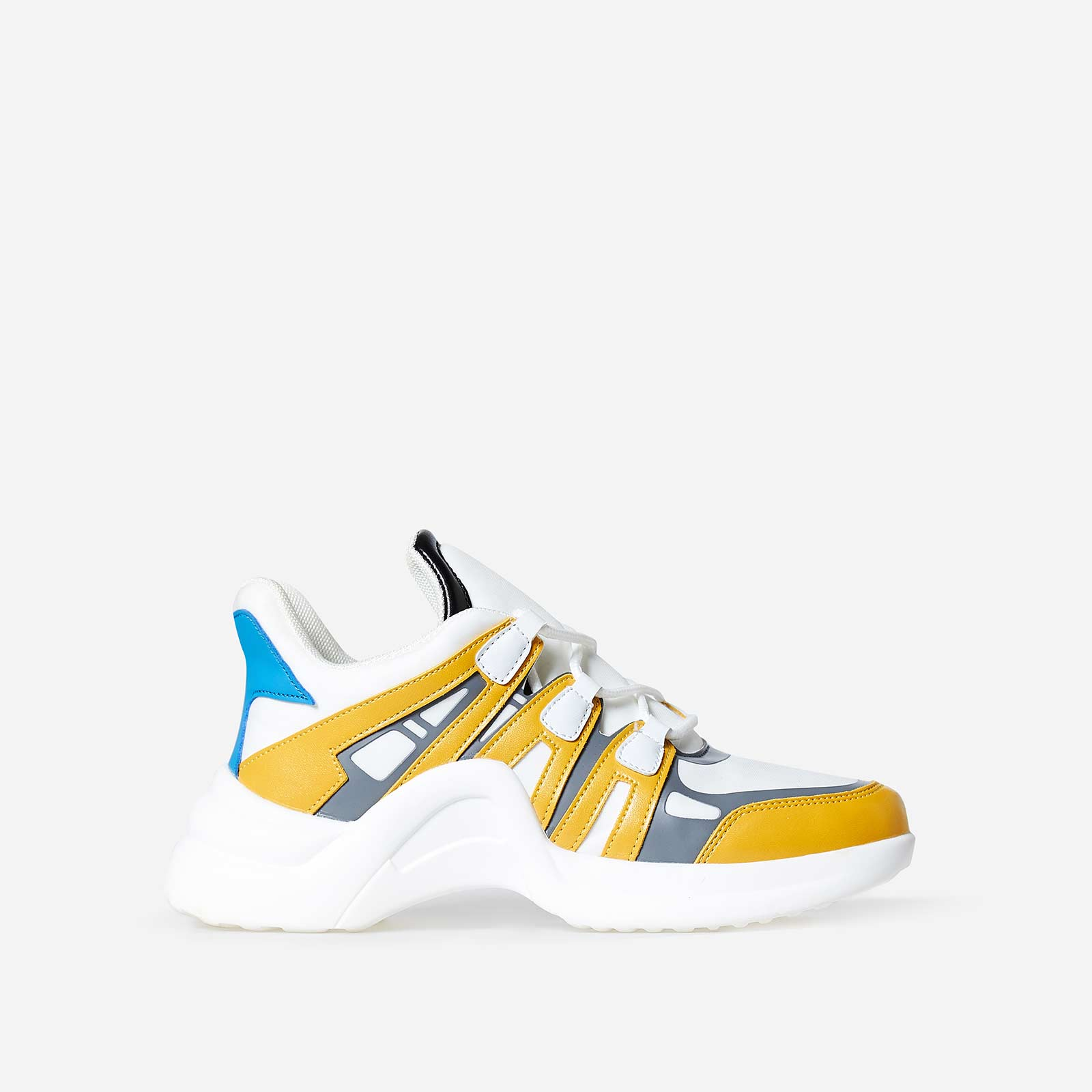 Marisa Wave Sole Trainer In White And Yellow Faux Leather