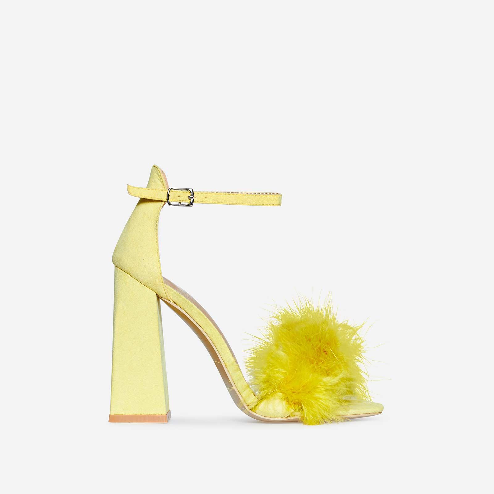Marley Fluffy Flared Block Heel In Lemon Yellow Faux Suede