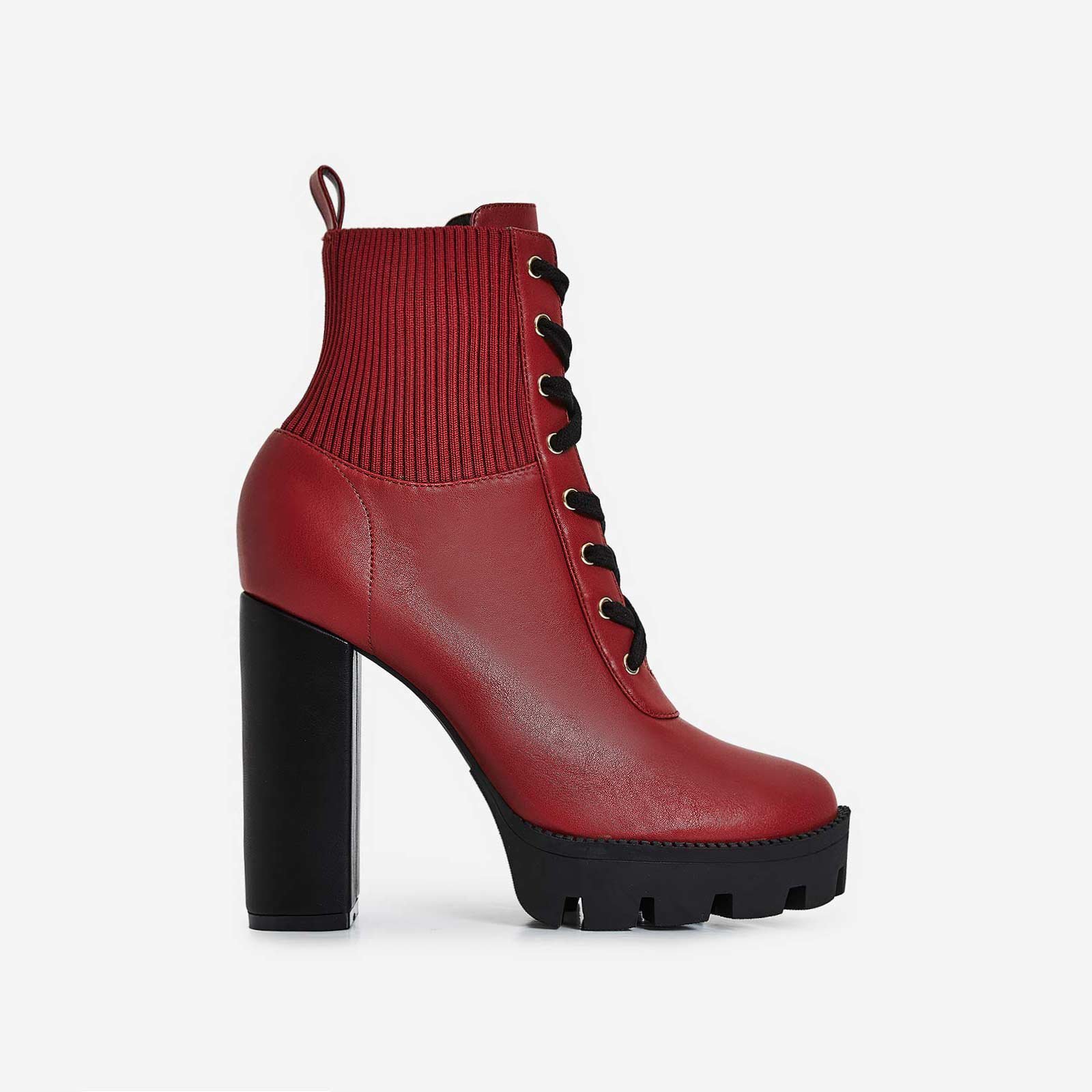 Matt Platform Lace Up Ankle Boot In Maroon Faux Leather