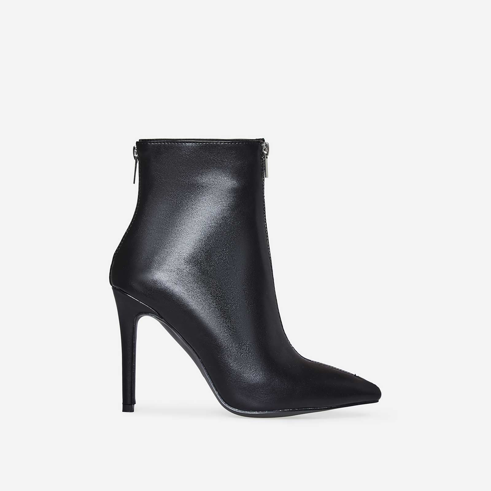 Maxwell Double Zip Detail Ankle Boot In Black Faux Leather