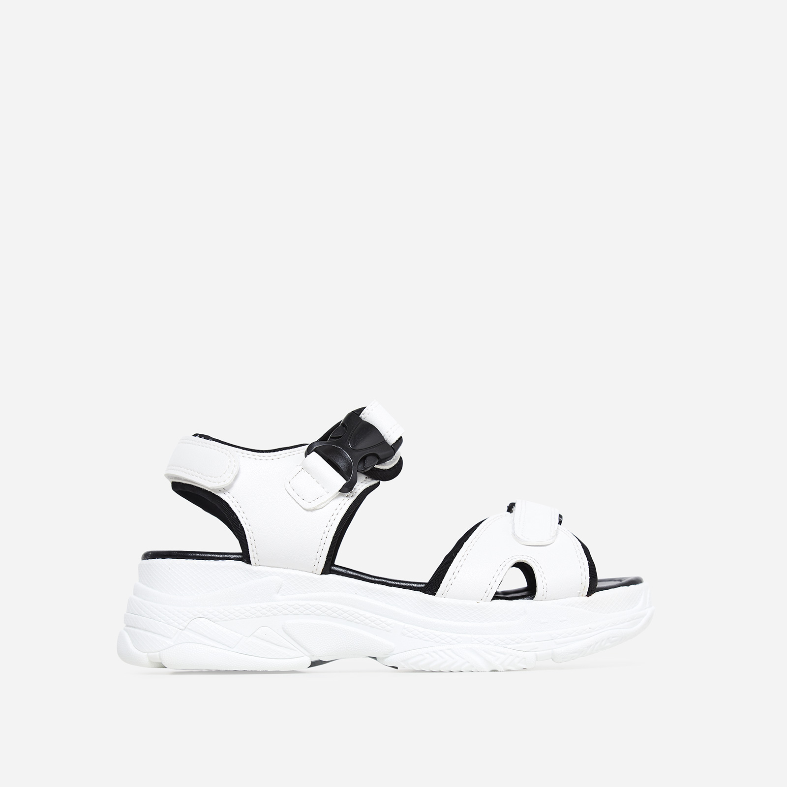Max Chunky Sandal In White Faux Leather