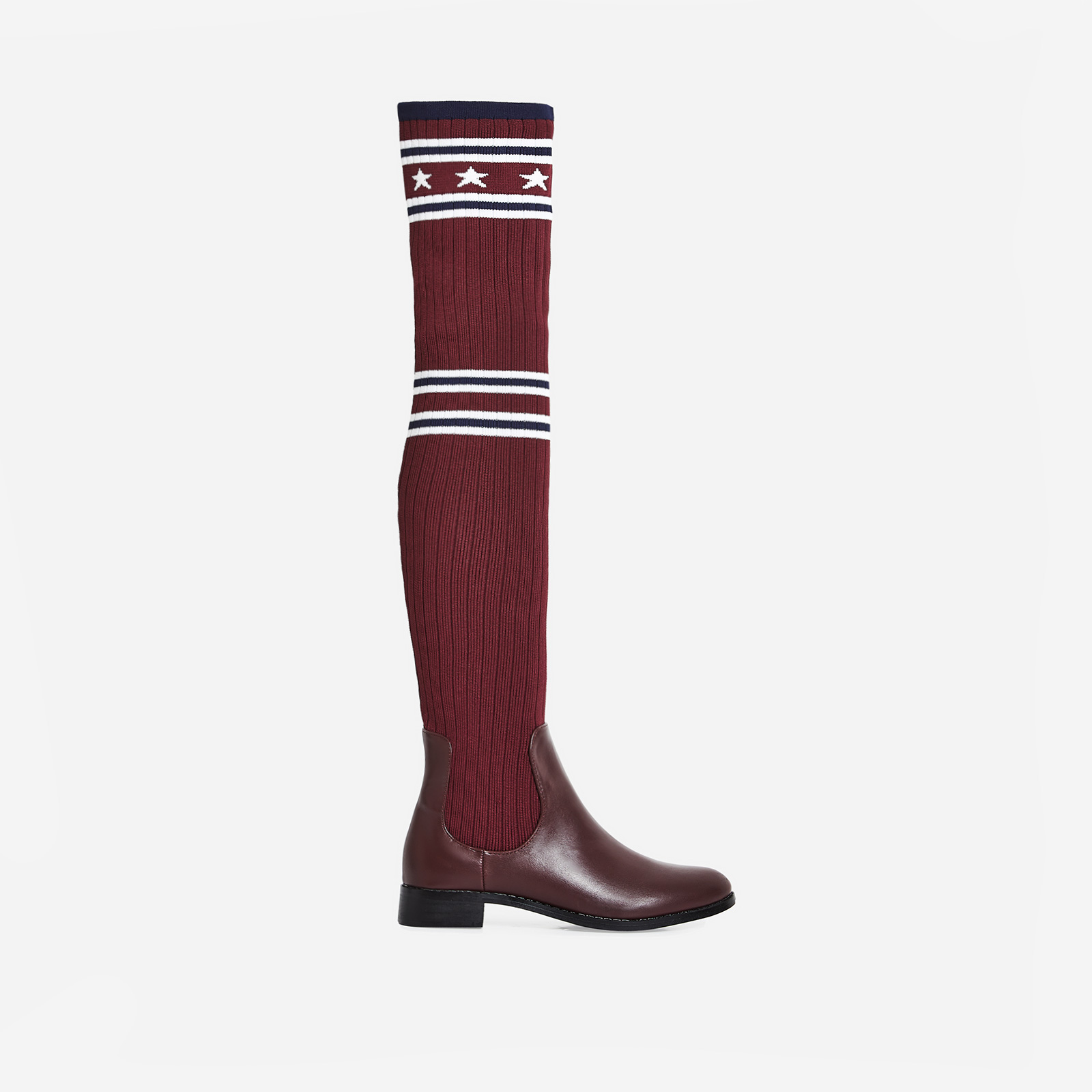 Metis Knitted Knee High Long Boot In Burgundy Faux Leather