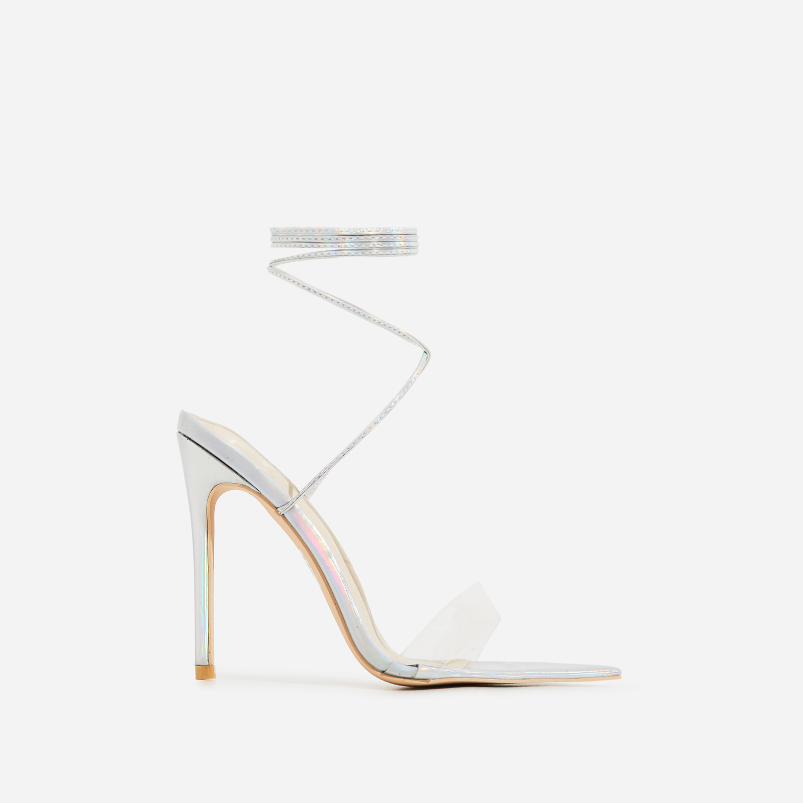 Miami Lace Up Perspex Pointed Heel In Silver Faux Leather