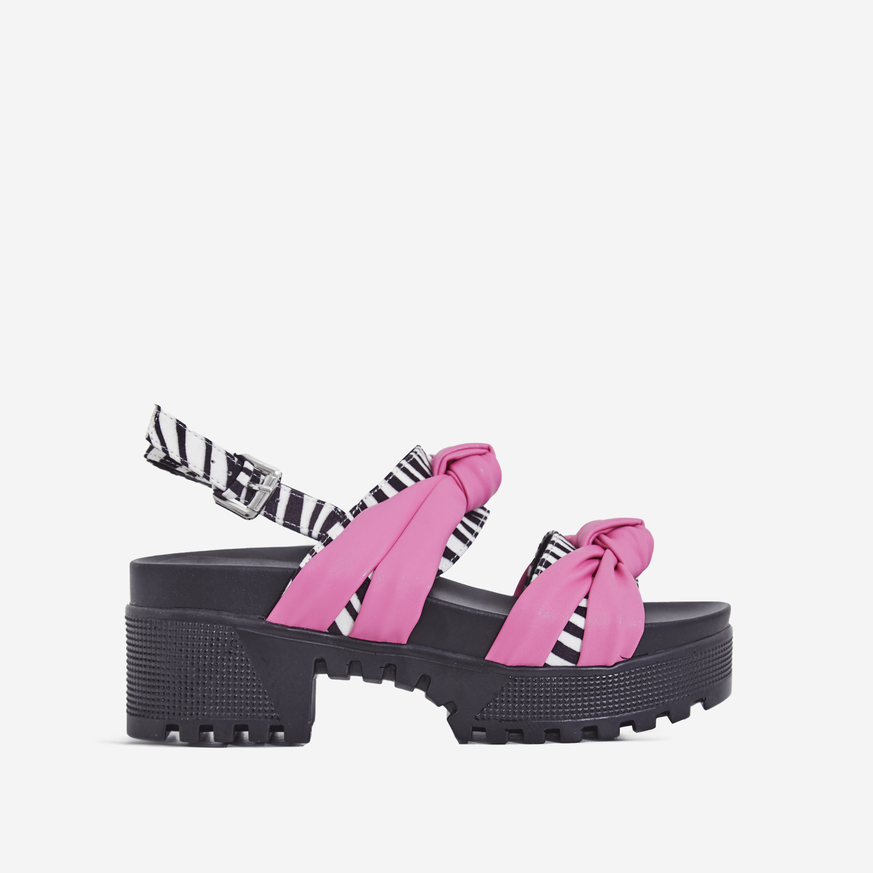 Micky Zebra Print Detail Chunky Sole Sandal In Pink Faux Leather