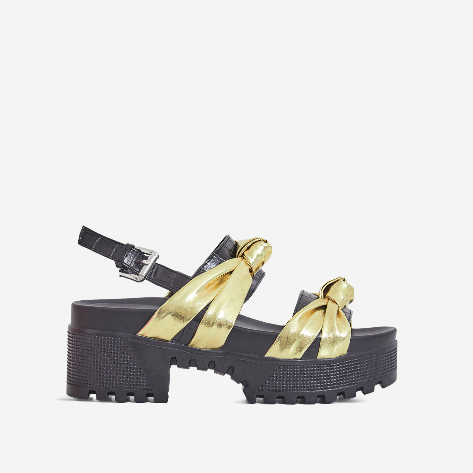 Micky Croc Print Detail Chunky Sole Sandal In Gold Faux Leather