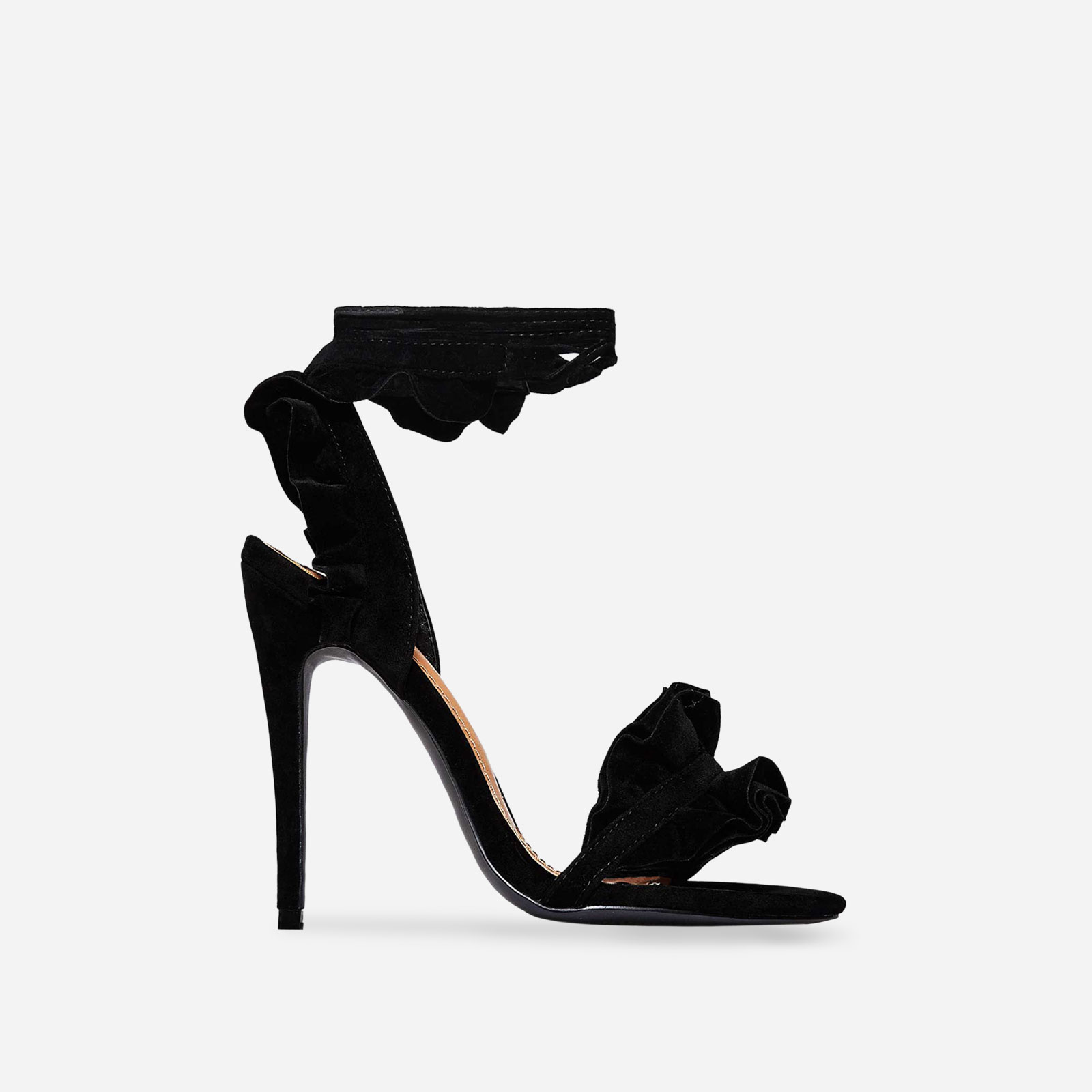Milan Frill Detail Lace Up Heel In Black Faux Suede