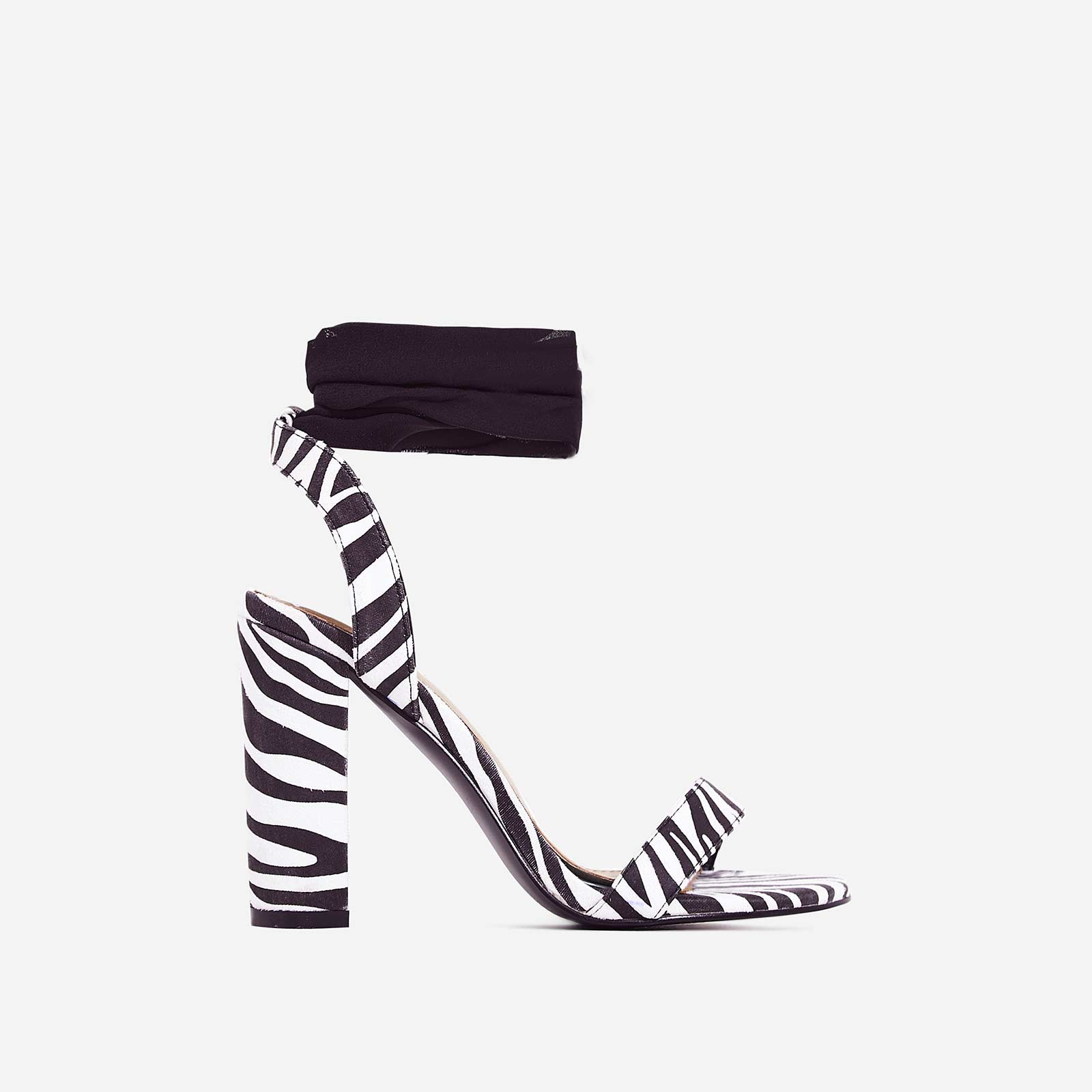 Milan Ribbon Lace Up Block Heel In Zebra Print Faux Suede