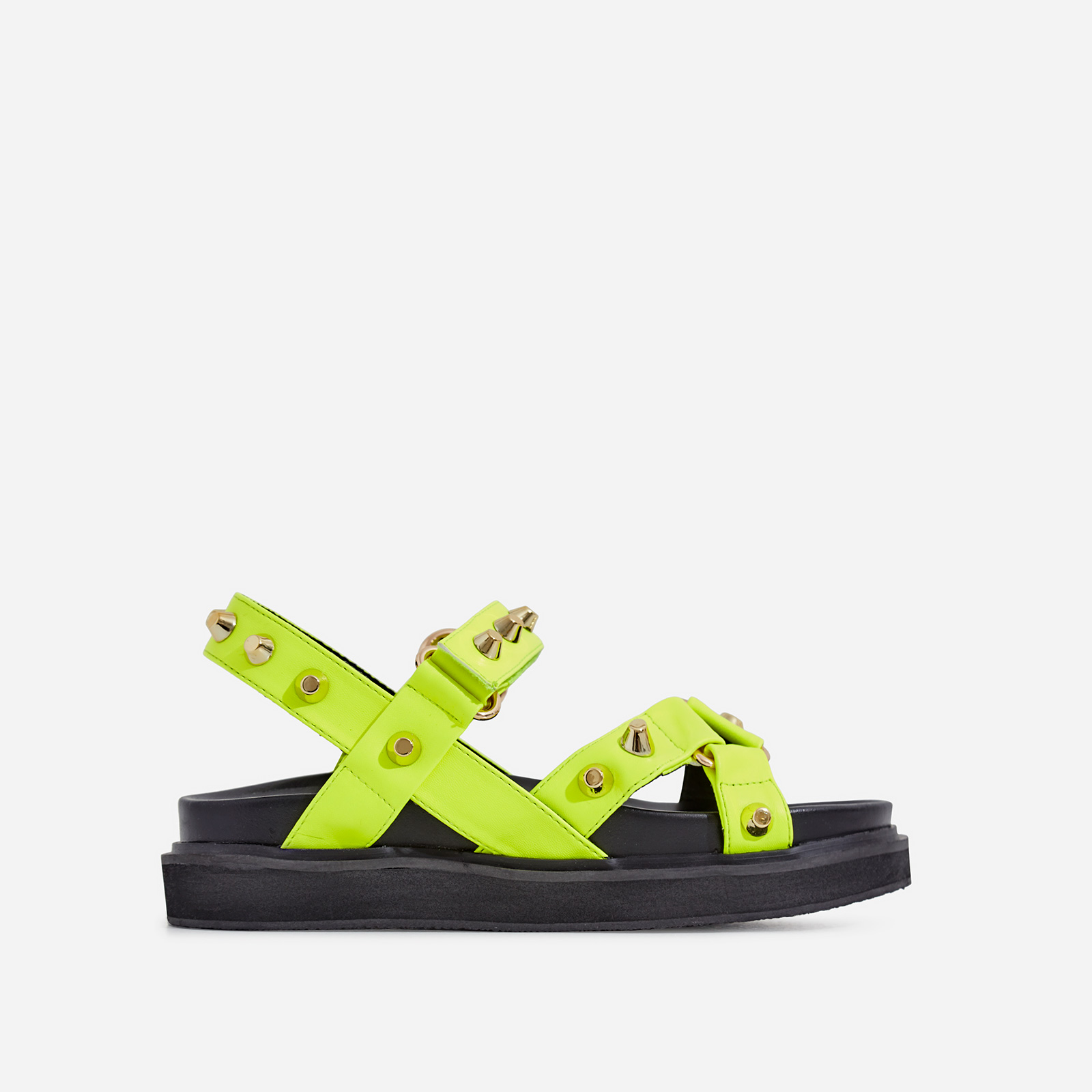 Mila Studded Detail Chunky Sole Sandal In Lime Green Faux Leather