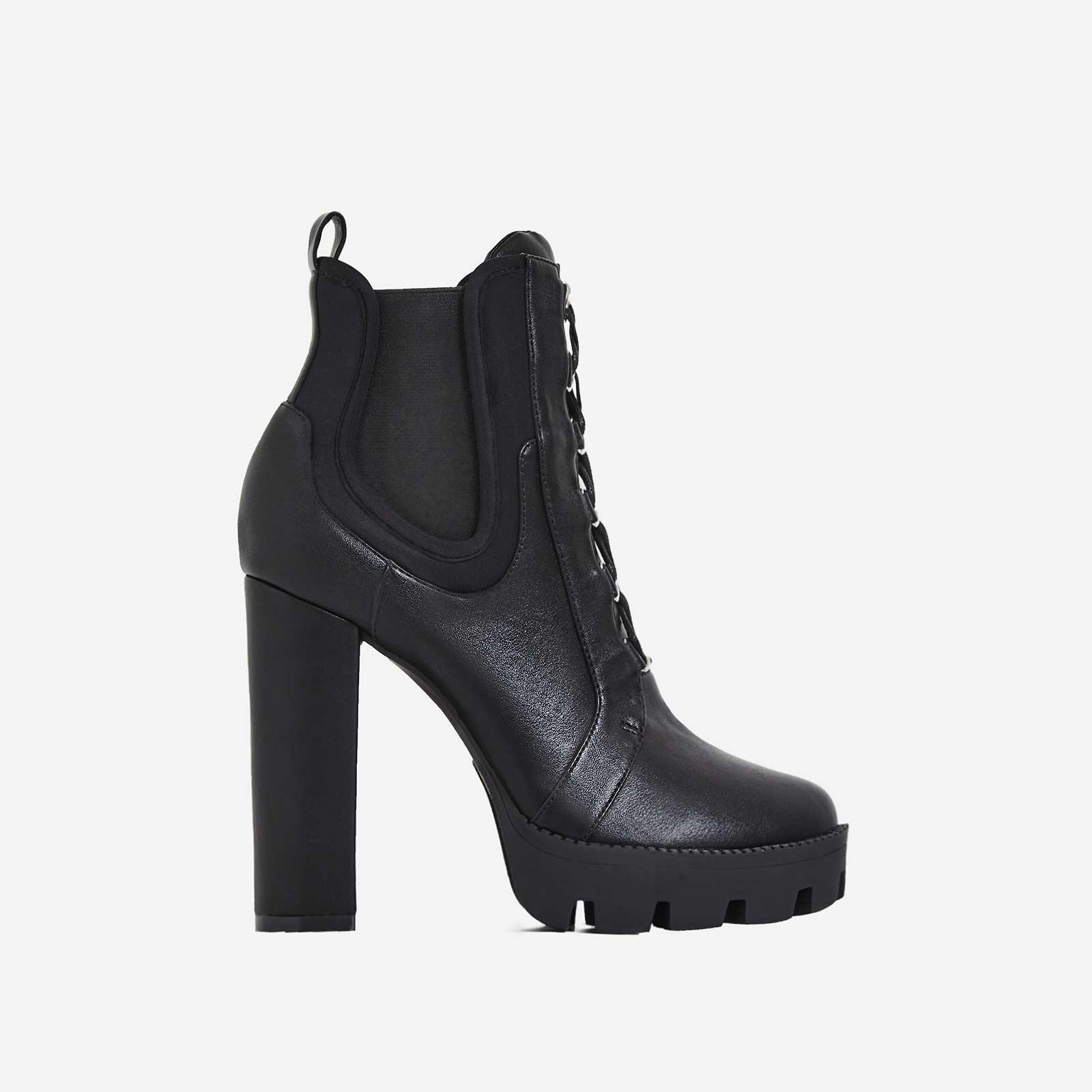 Miya Black Lycra Trim Lace Up Platform Ankle Boot In Black Faux Leather