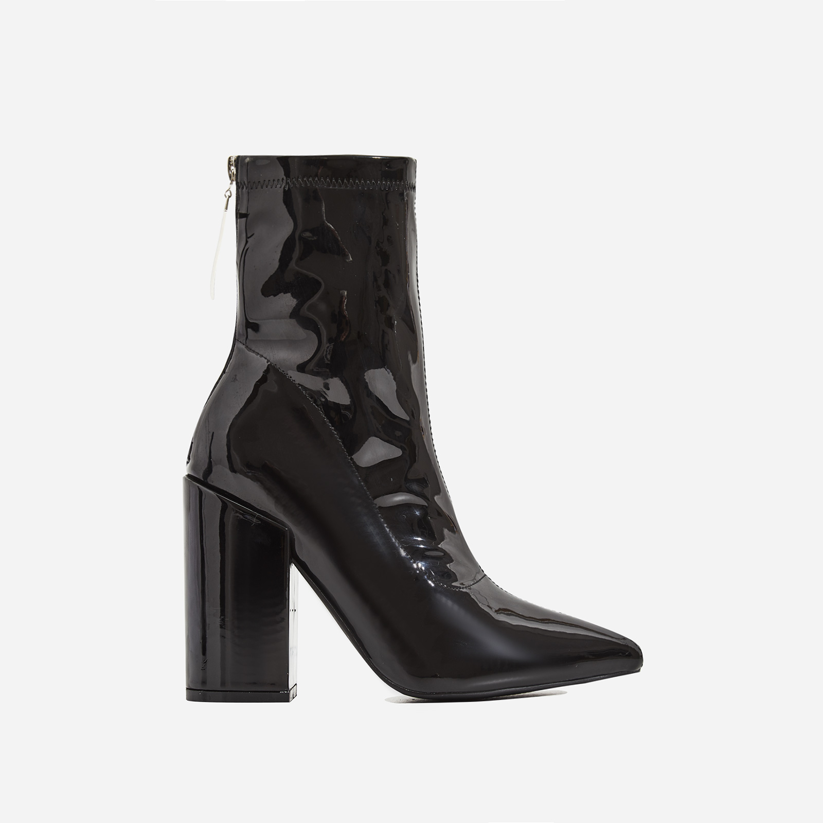 Monica Triangle Zip Detail Black Heel Ankle Boot In Black Patent