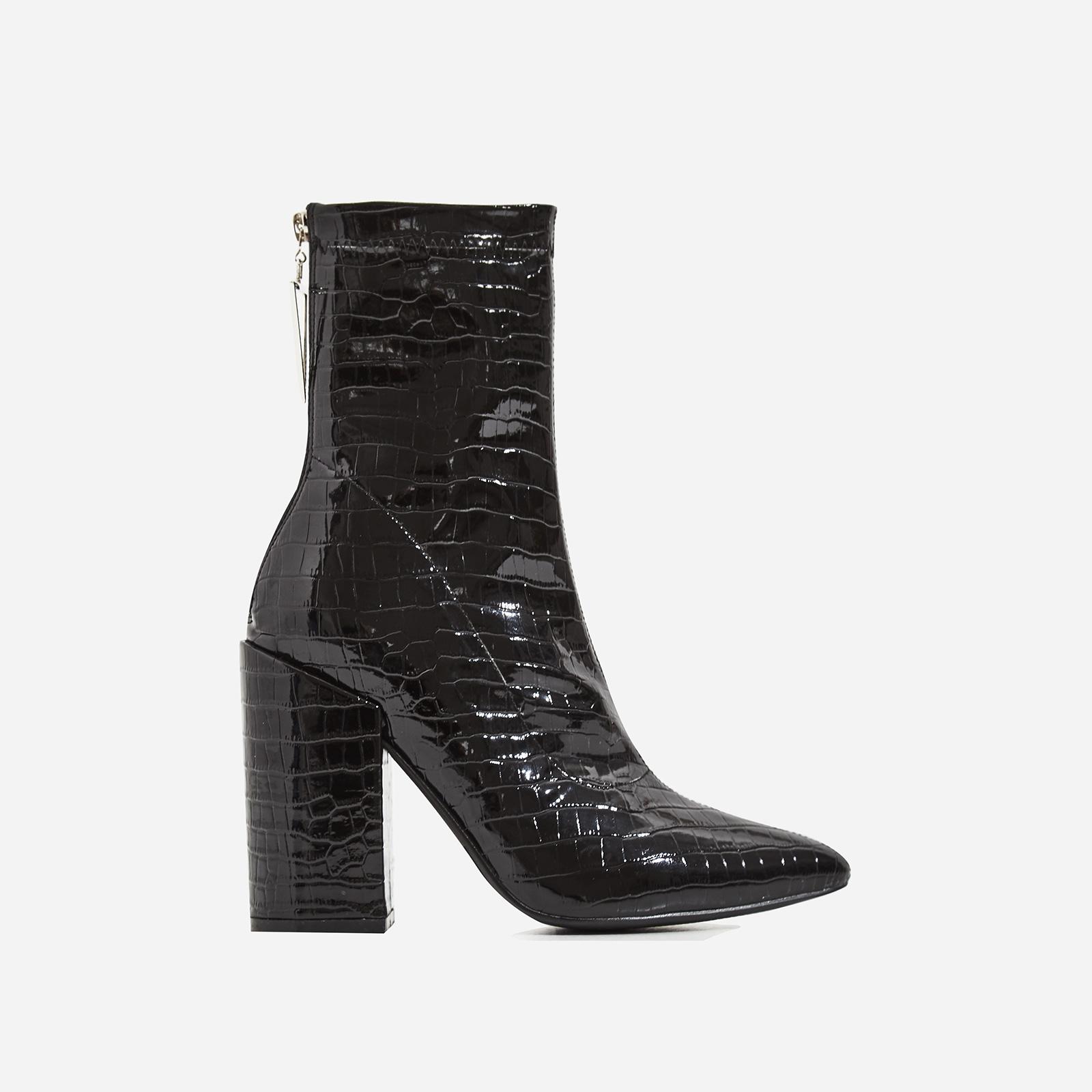 Monica Triangle Zip Detail Black Heel Ankle Boot In Black Croc Print Patent