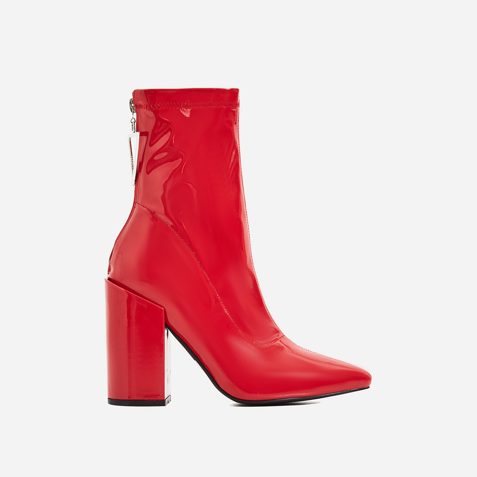 Monica Triangle Zip Detail Black Heel Ankle Boot In Red Patent
