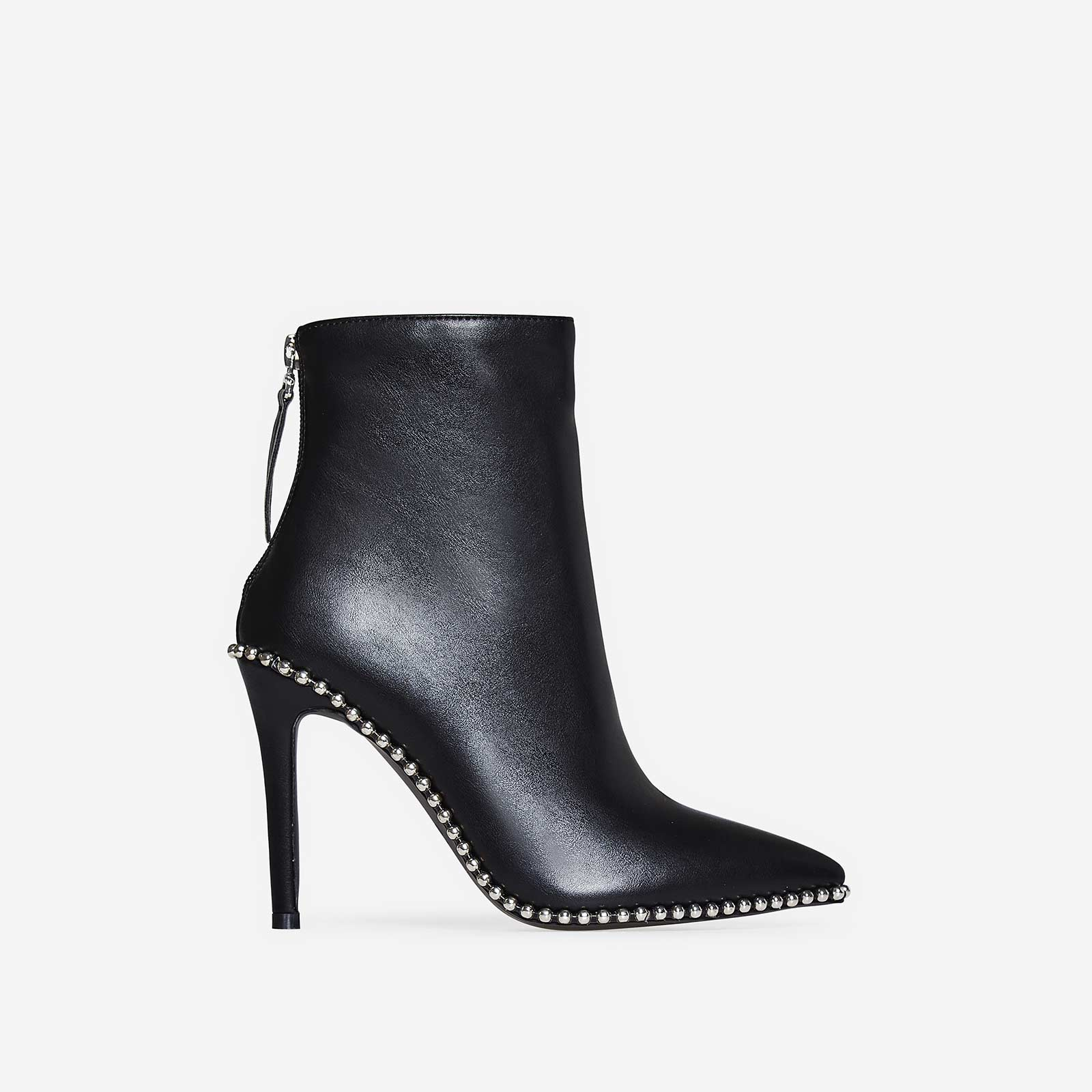 Montana Studded Detail Ankle Boot In Black Faux Leather