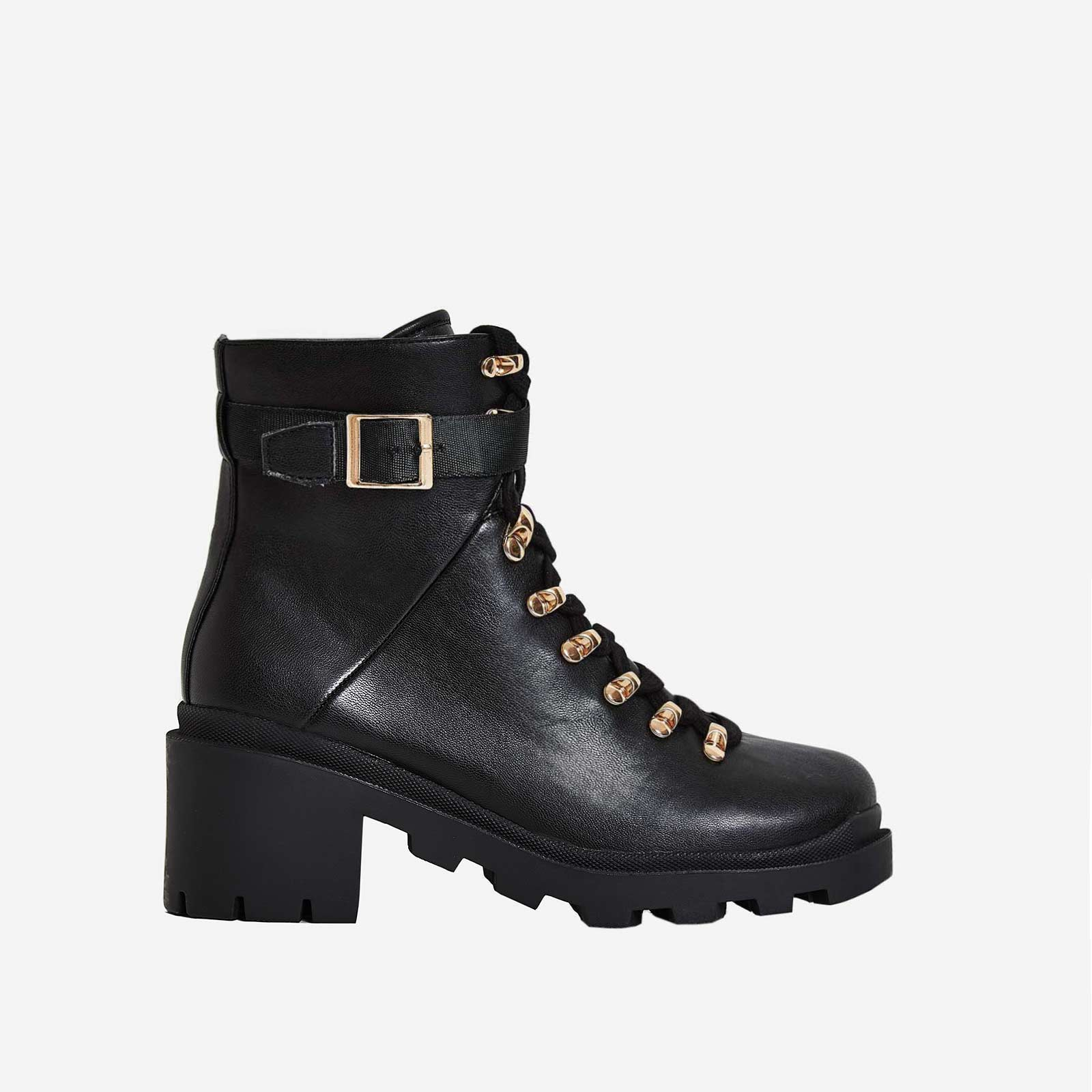 Mosley Black Lace Up Block Heel Ankle Bike Boot In Black Faux Leather