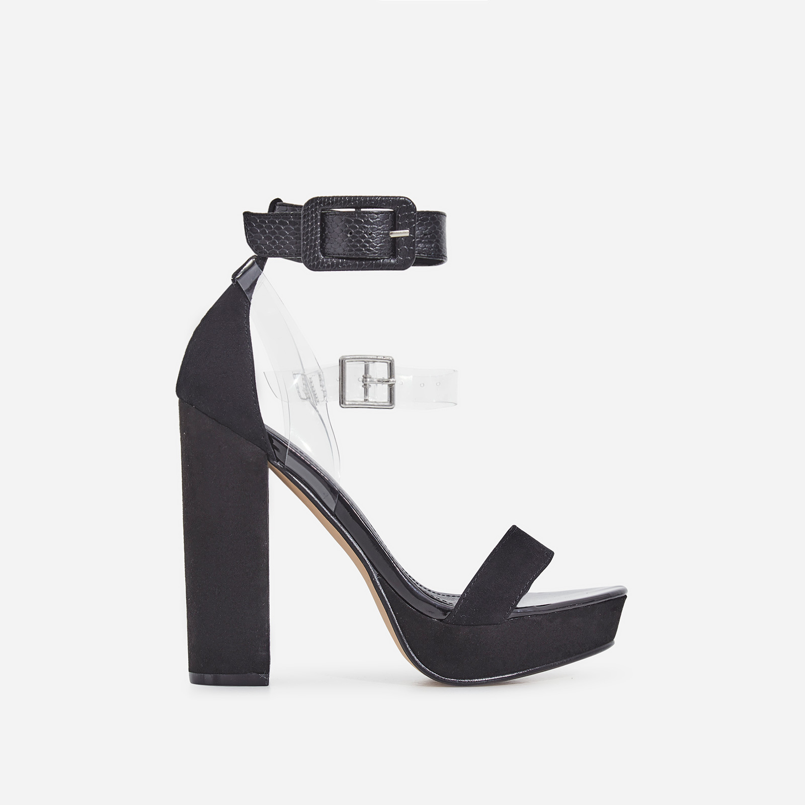 Moving Perspex Double Buckle Platform Heel In Black Faux Suede