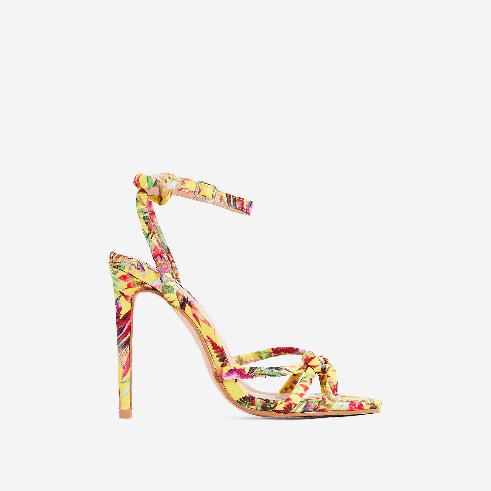 Ravi Knotted Barely There Heel In Yellow Flower Print
