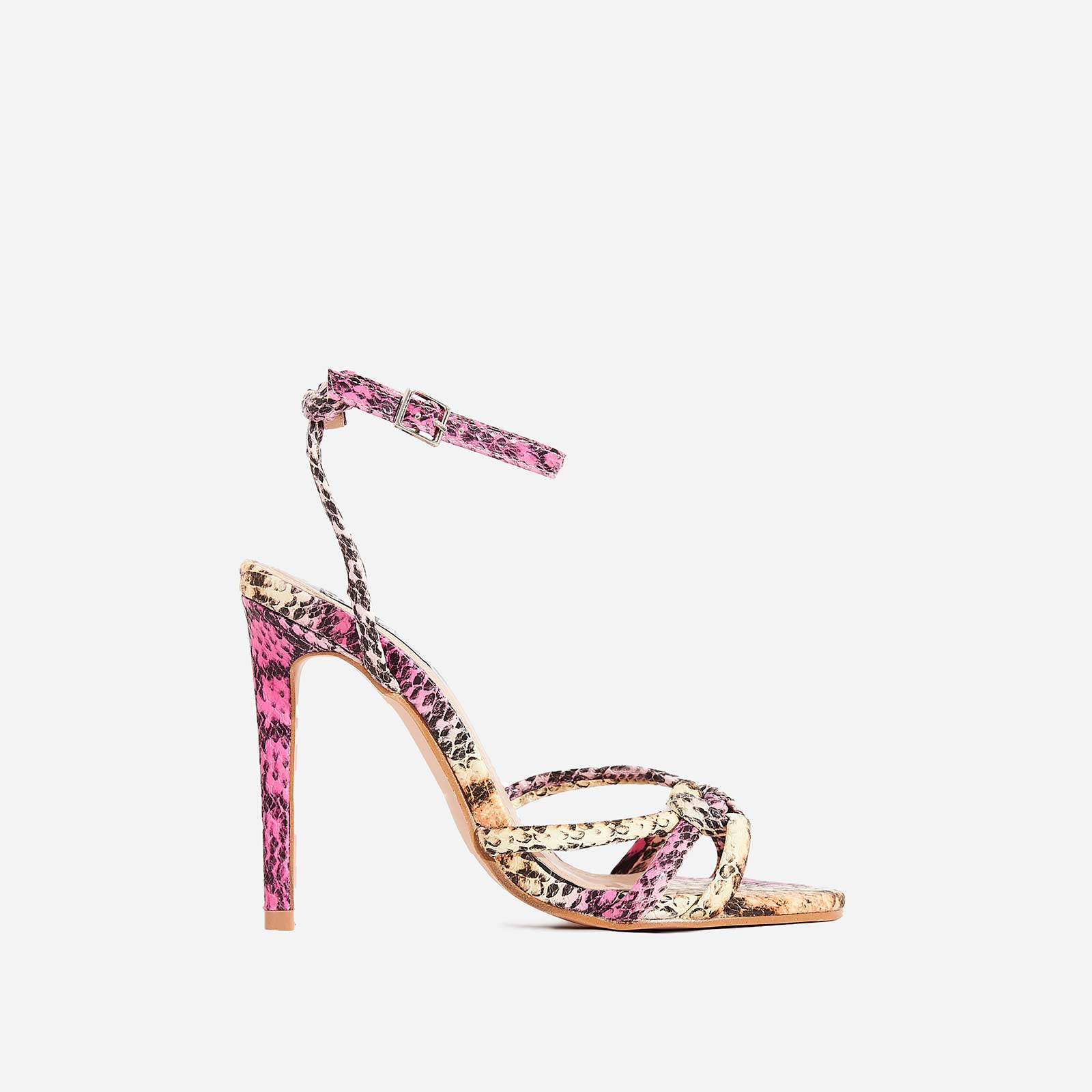 Ravi Knotted Barely There Heel In Pink Snake Print Faux Leather