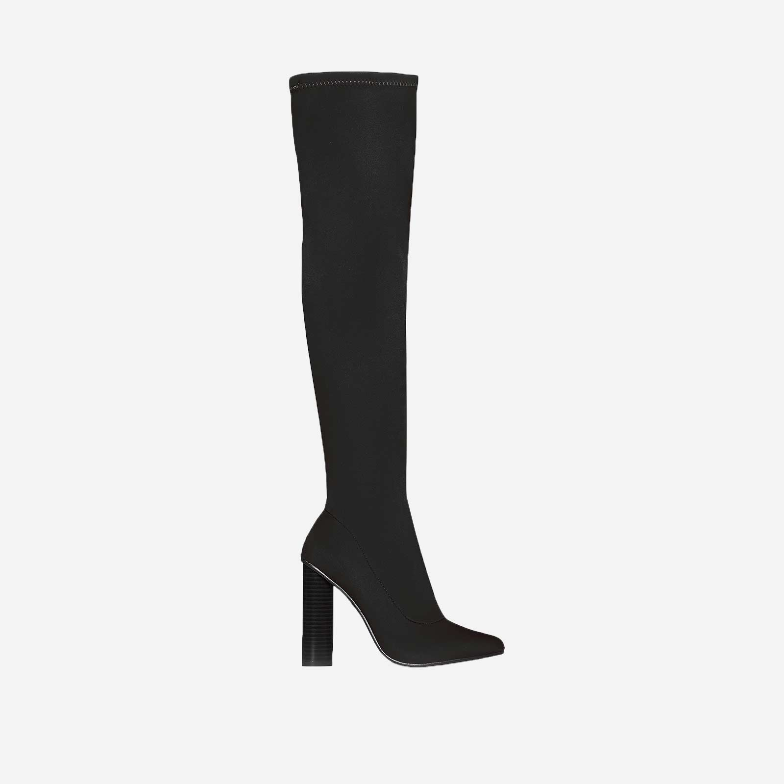 Anja Over The Knee Long Boot In Black Lycra