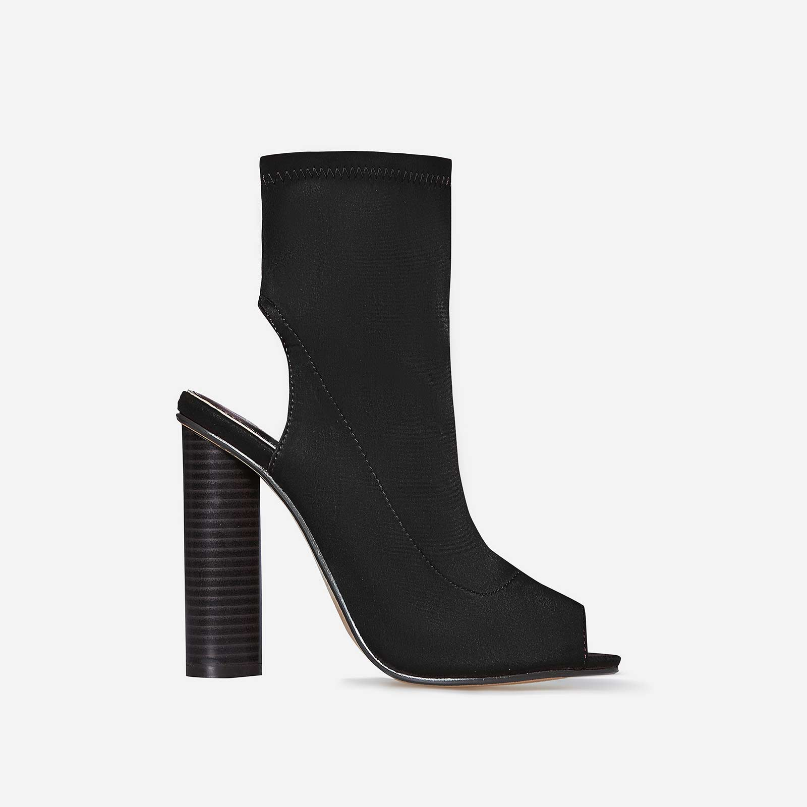 Sylvie Cut Out Peep Toe Ankle Boot In Black Lycra