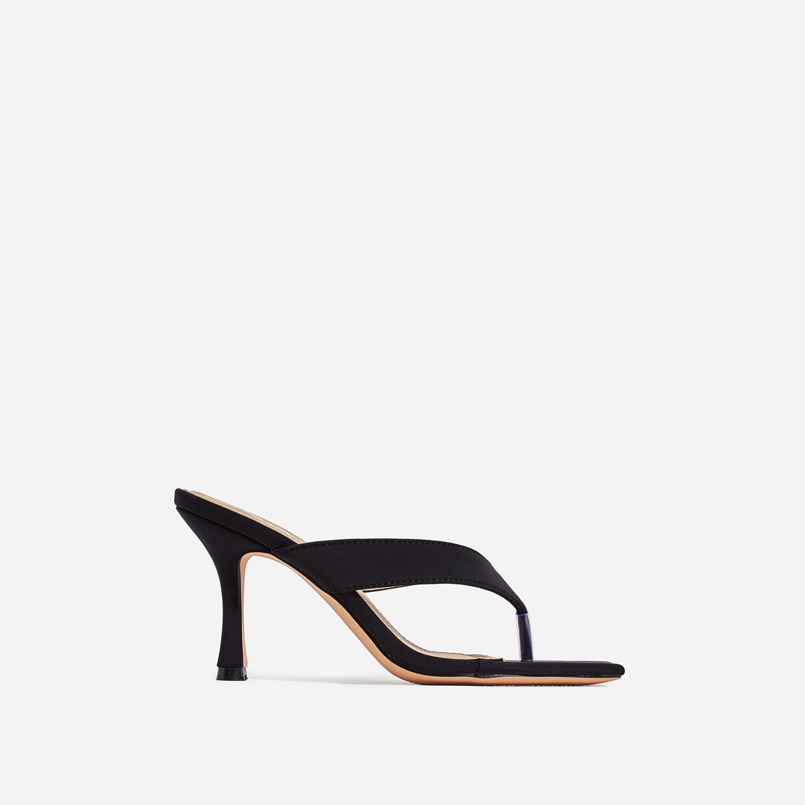 Nappa Square Toe Kitten Heel Mule In Black Lycra