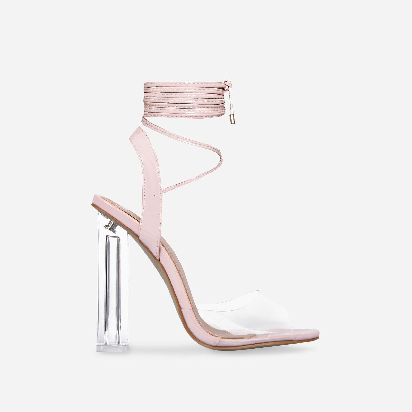 Neema Lace Up Perspex Heel In Pink Patent Image 1