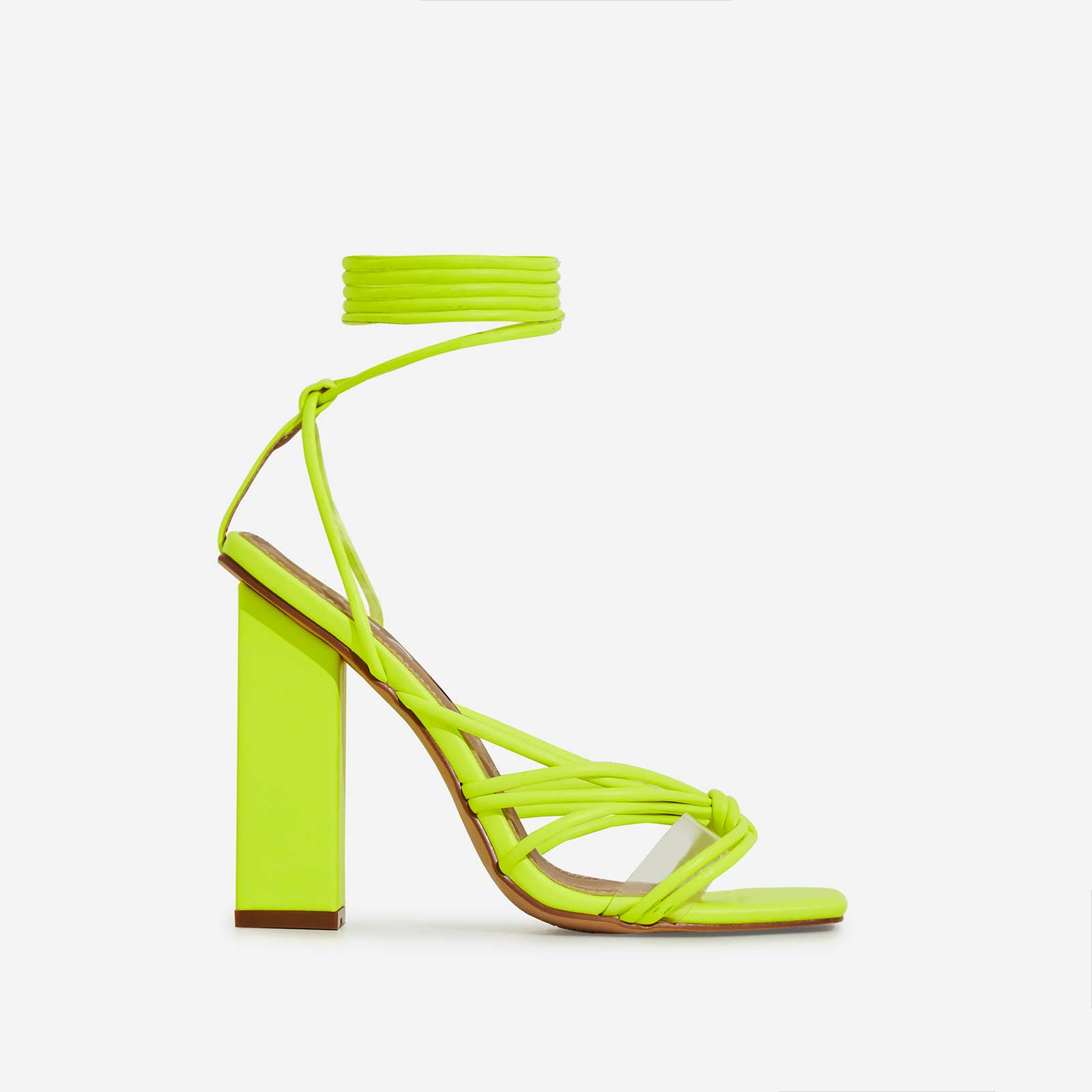 Neima Lace Up Square Toe Perspex Block Heel In Lime Green Faux Leather