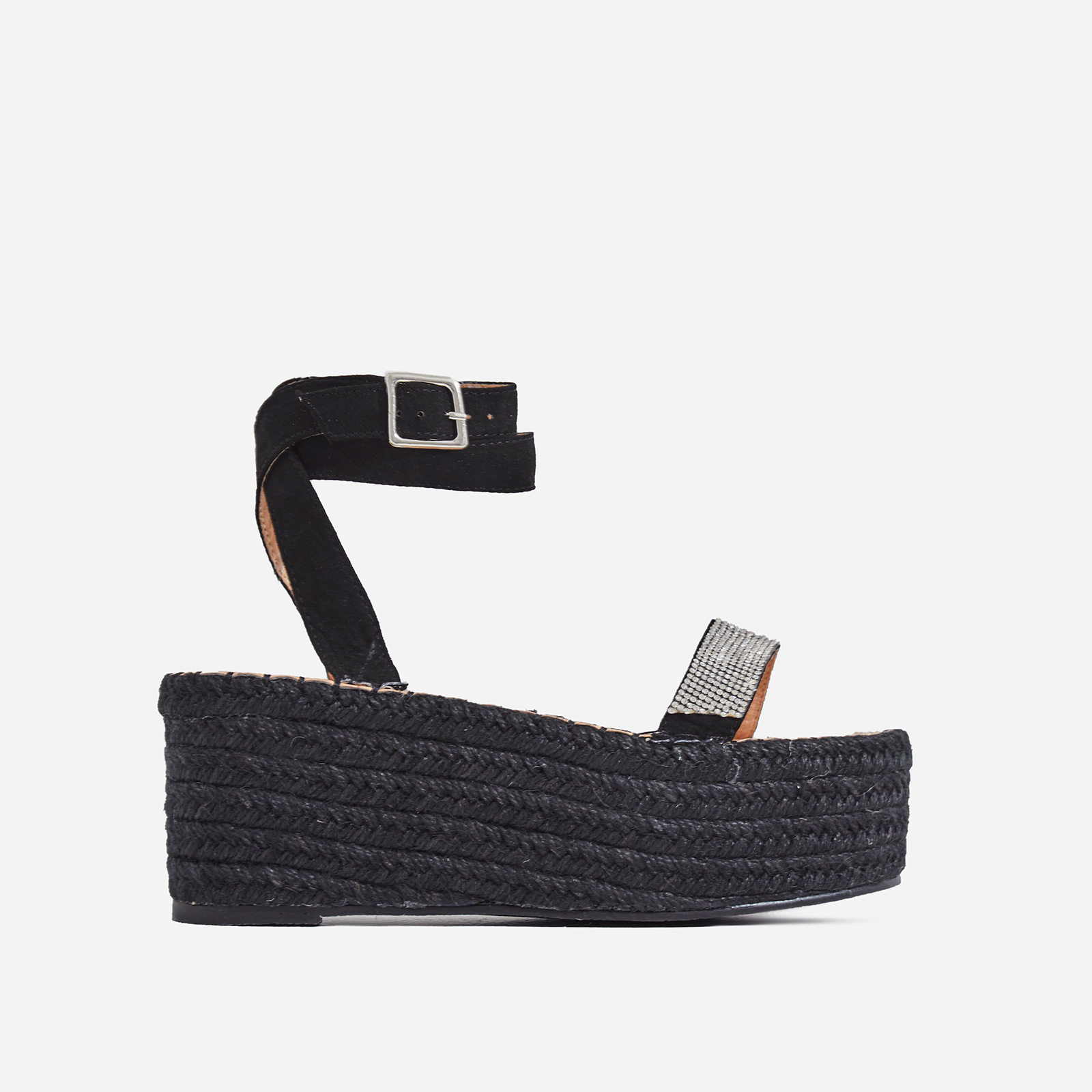 Nellie Diamante Detail Espadrille Flatform In Black Faux Suede