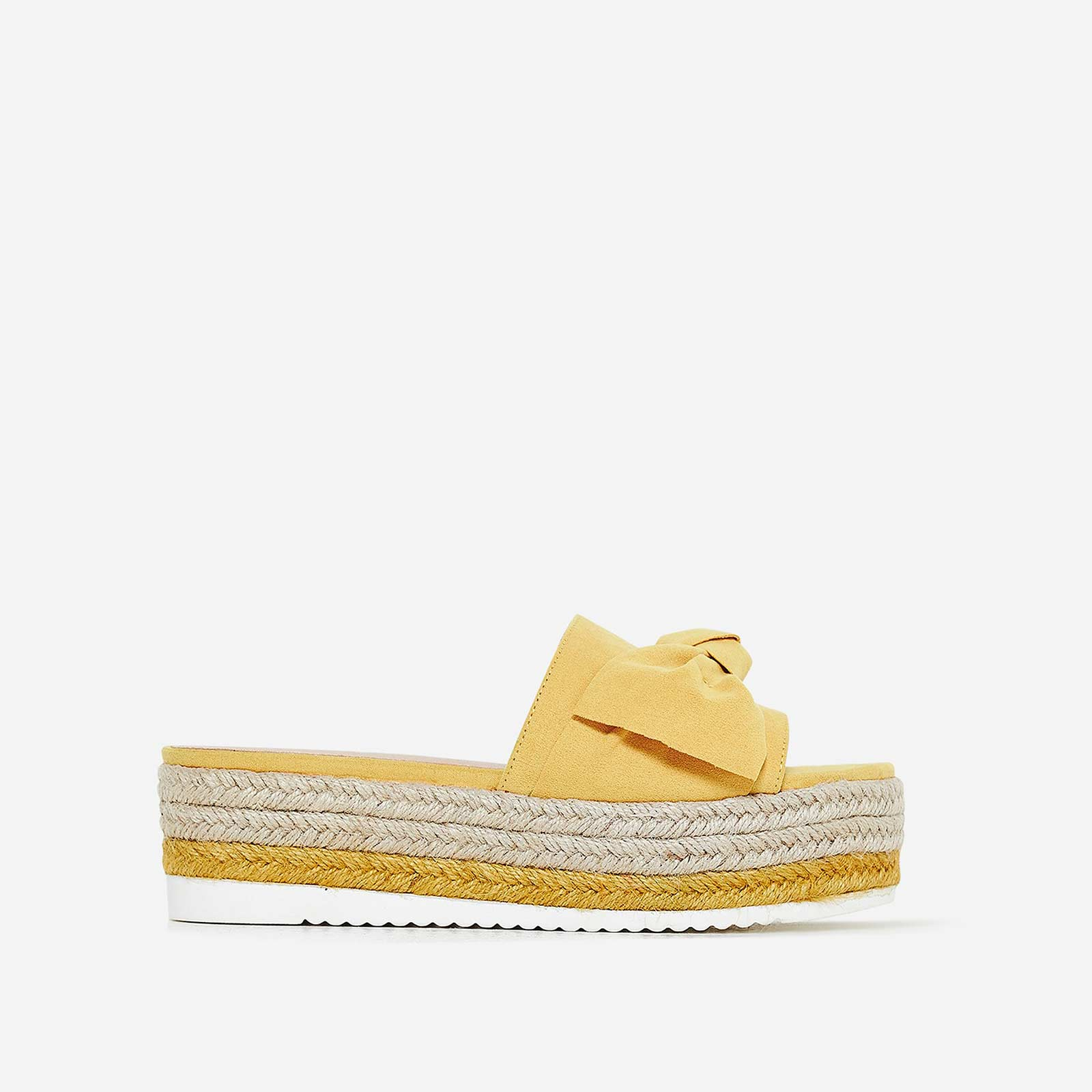 Fergie Bow Detail Espadrille Slider In Yellow Faux Suede