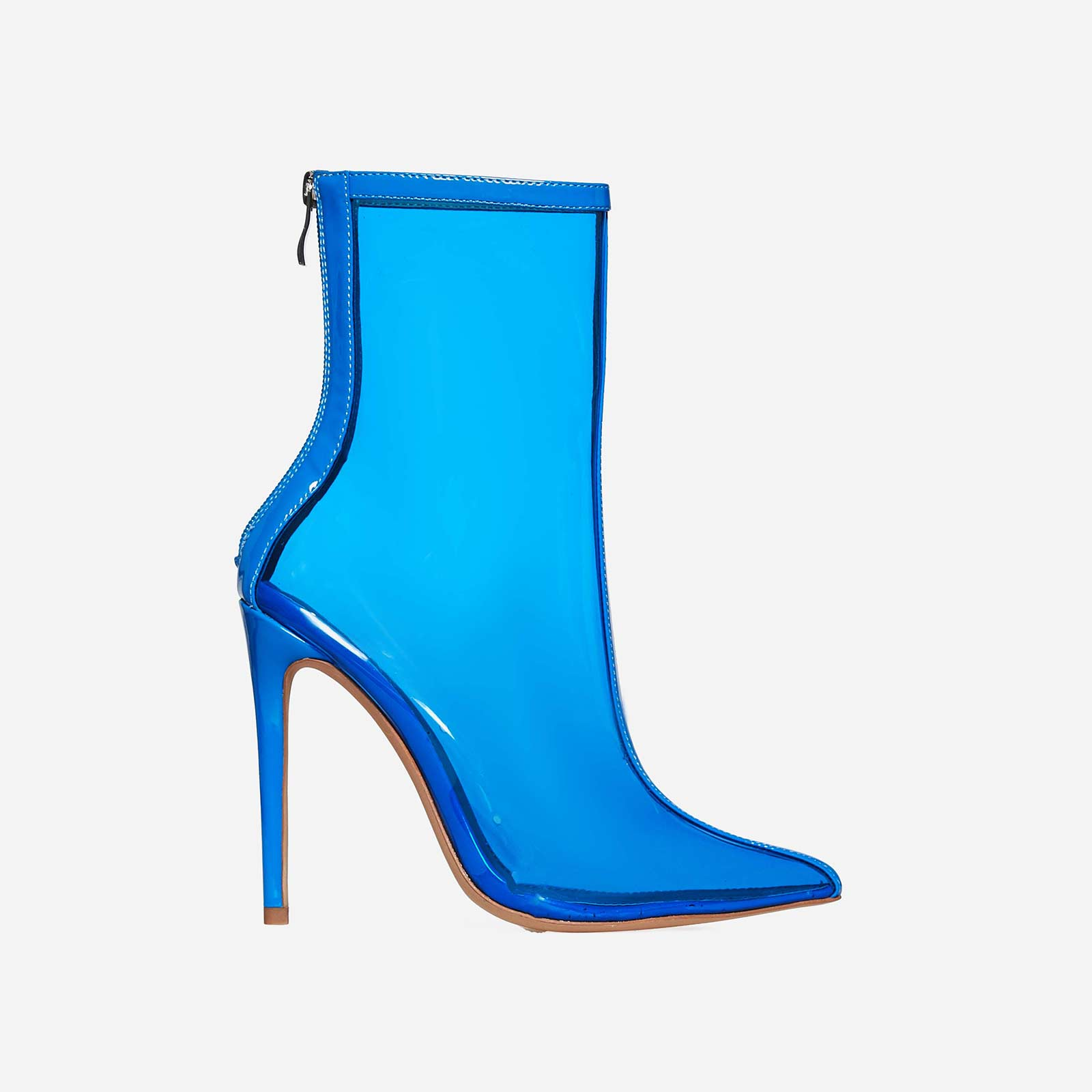 Selina Coloured Perspex Ankle Boot In Blue Patent