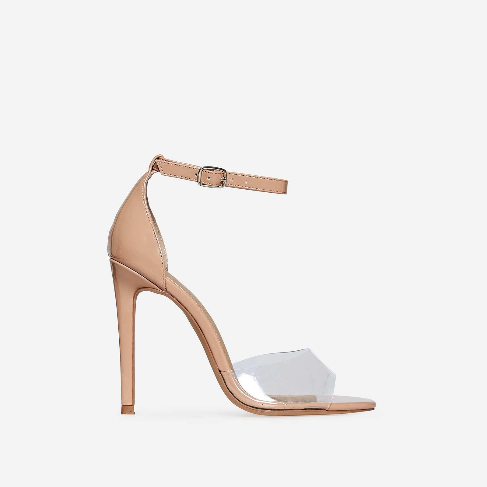 Gabi Peep Toe Perspex Heel In Nude Patent