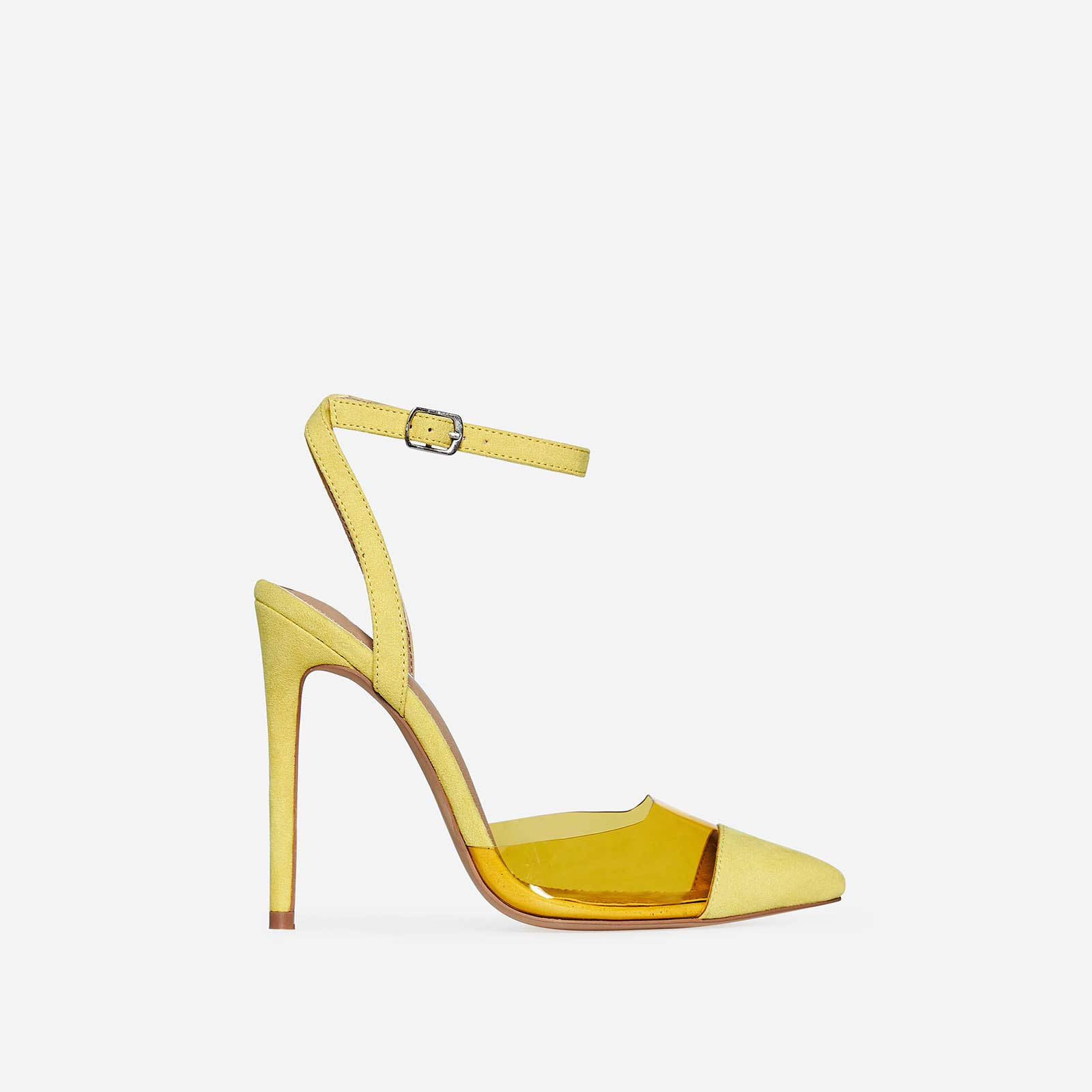 Frankie Coloured Perspex Heel In Yellow Faux Suede