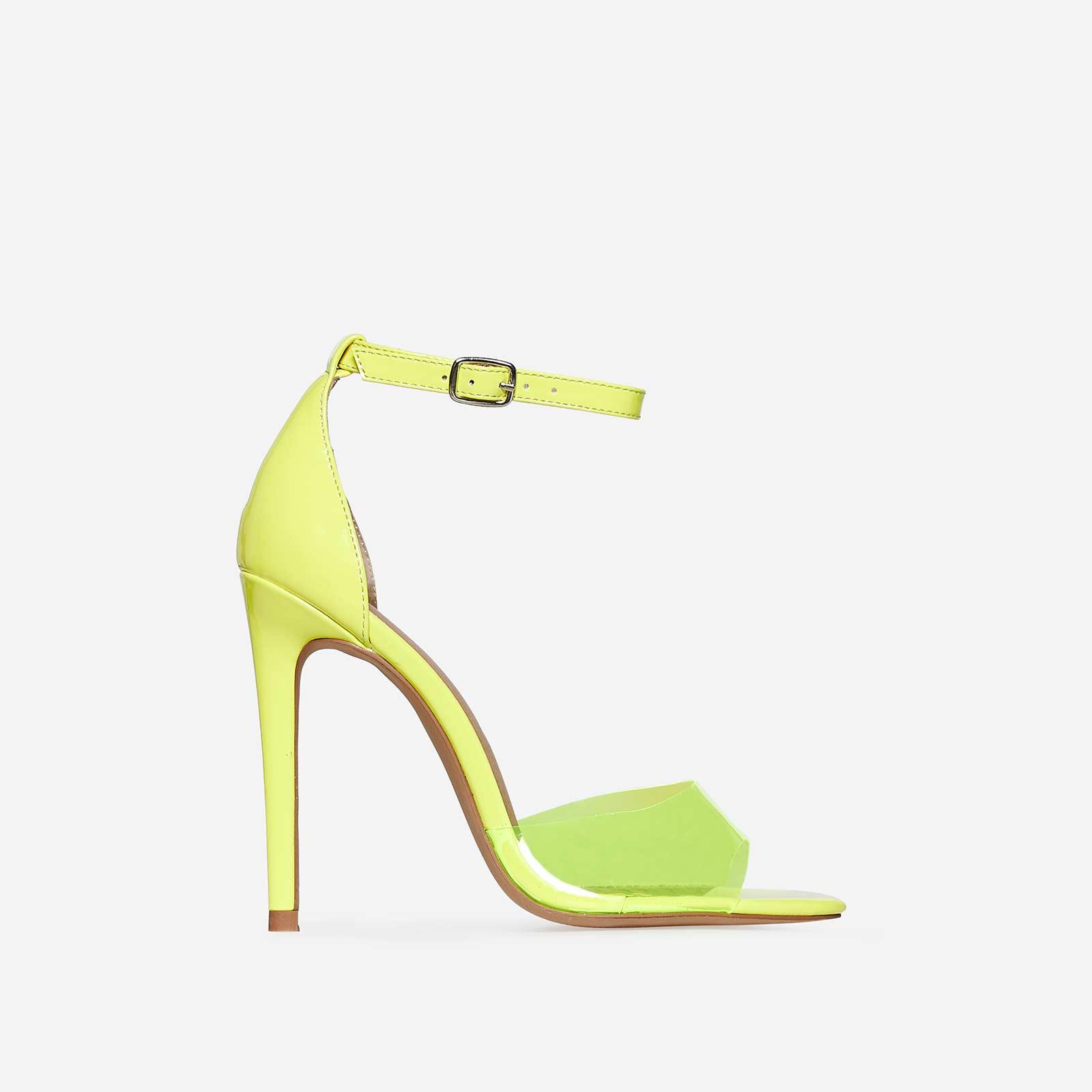 Gabi Peep Toe Perspex Heel In Yellow Patent