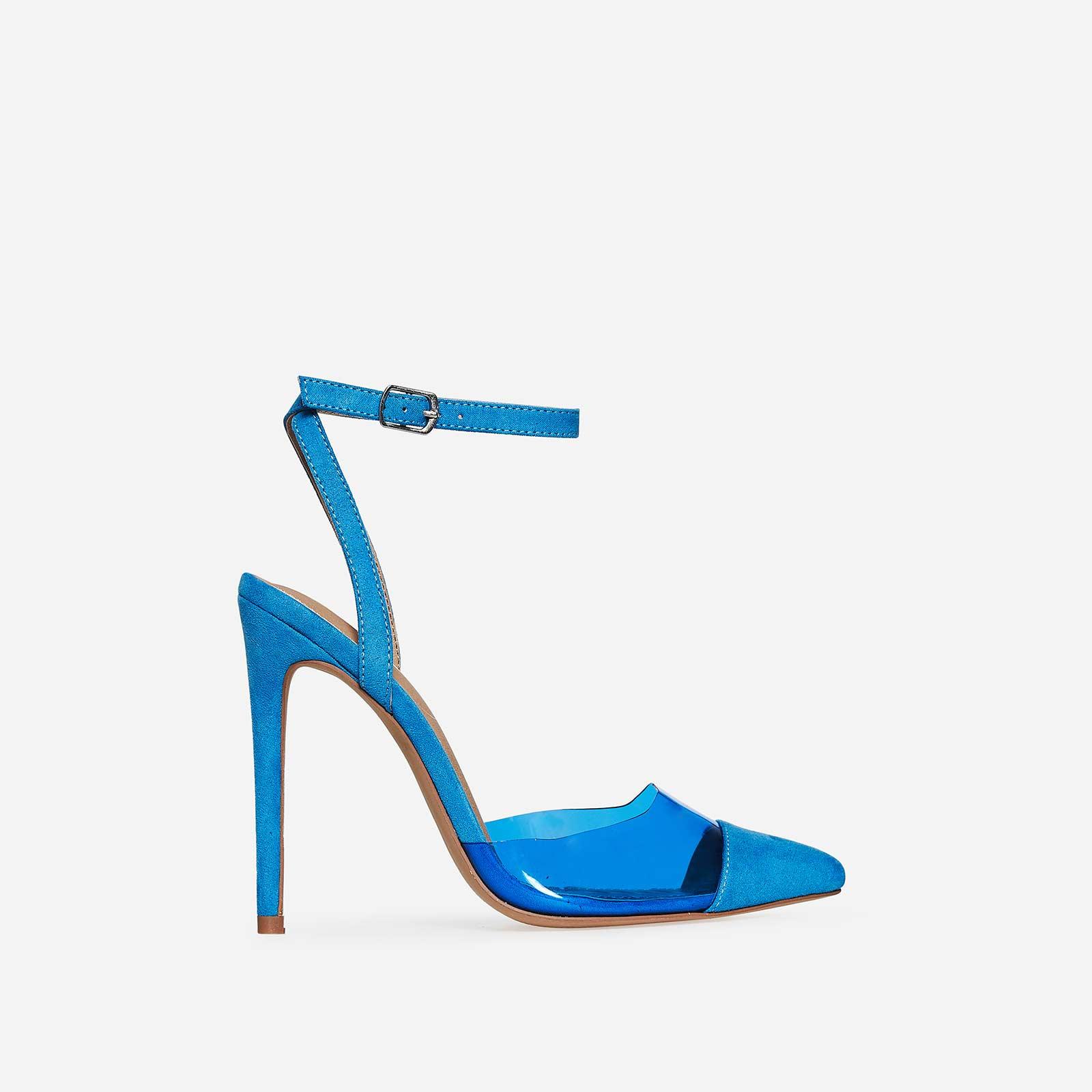Frankie Coloured Perspex Heel In Blue Faux Suede
