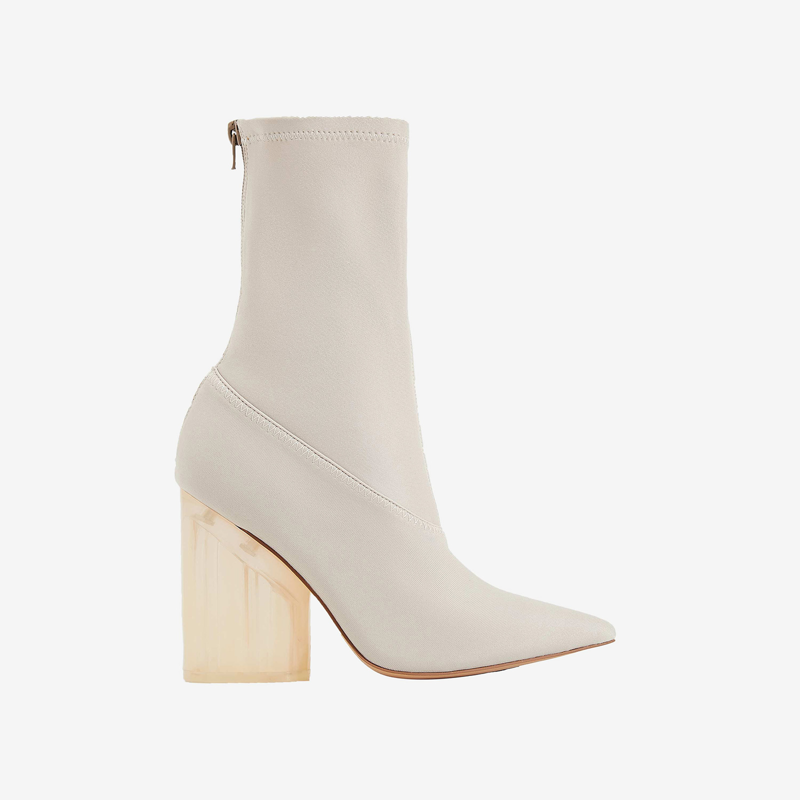 Niko Perspex Block Heel Pointed Ankle Sock Boot In Nude Lycra