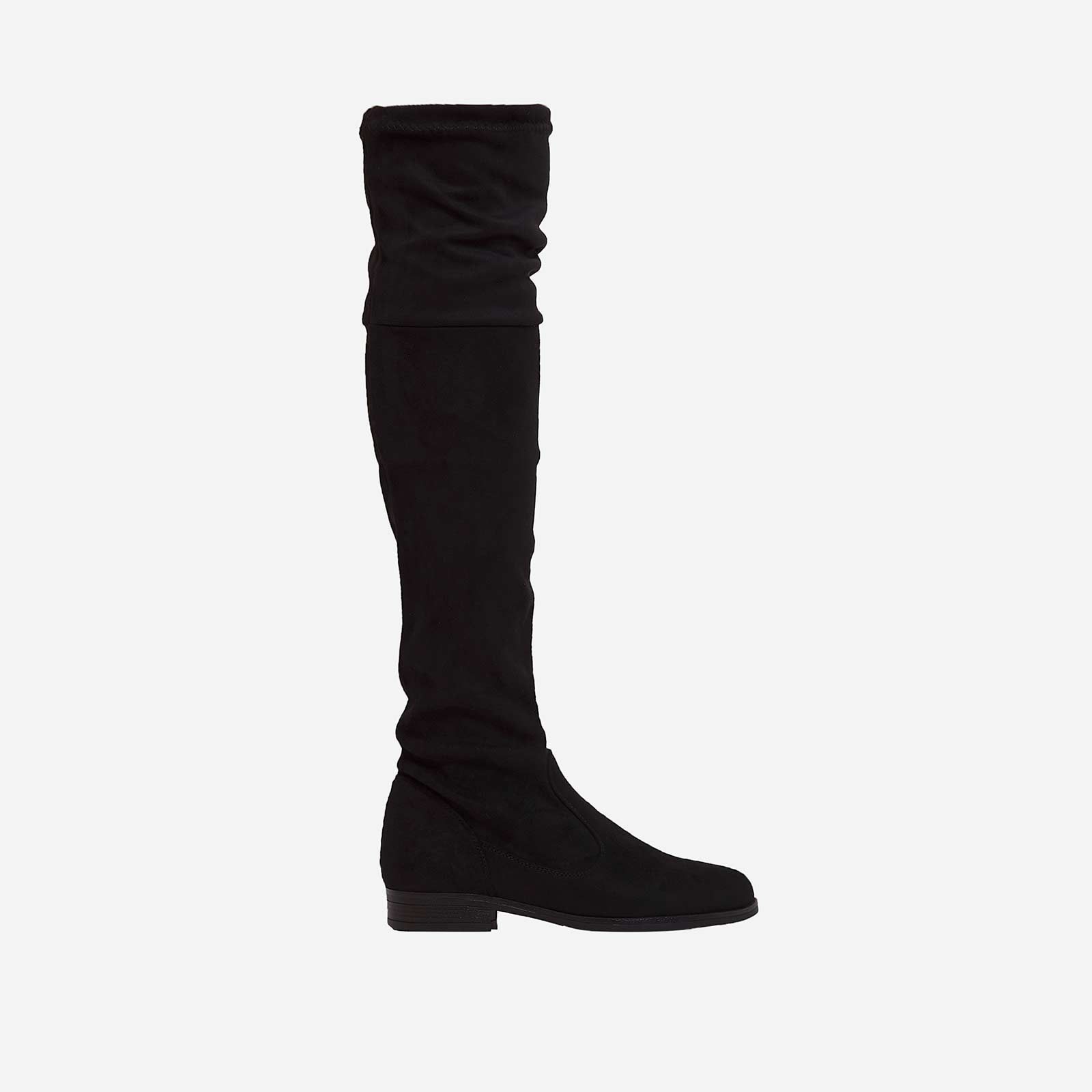 Melanie Long Boot In Black Faux Suede