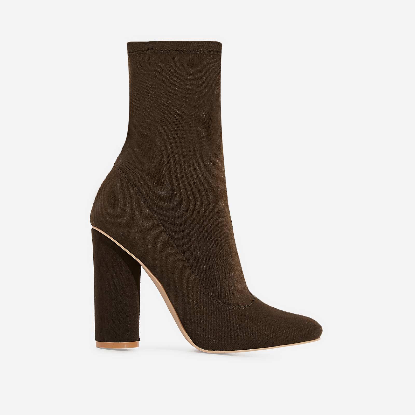 Noelle Block Heel Ankle Boot In Green Lycra