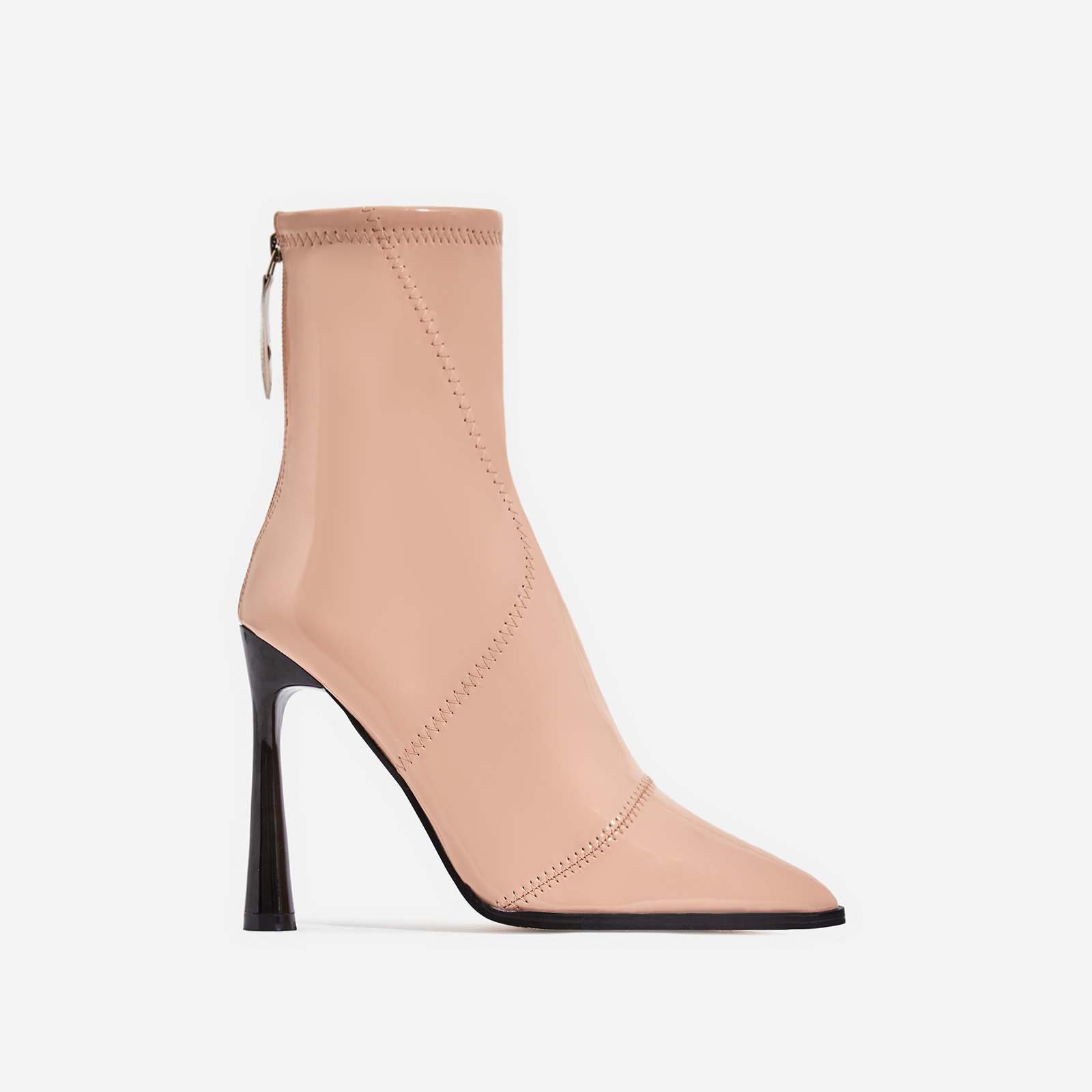 Nolan Curved Heel Ankle Boot In Nude Patent