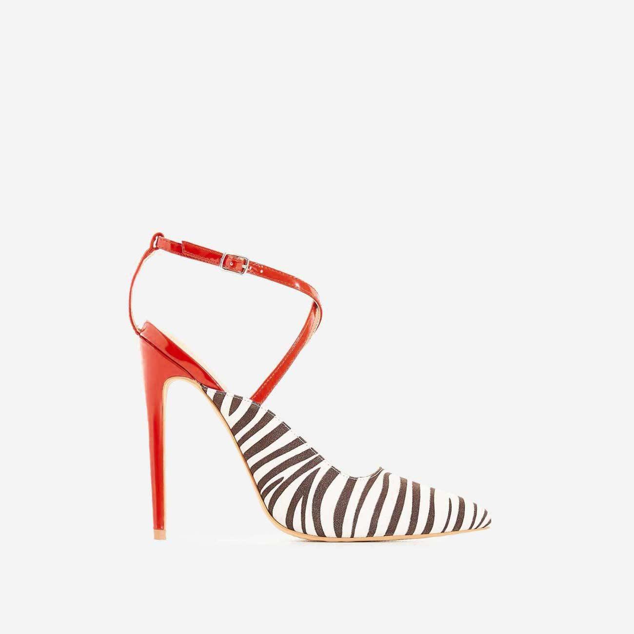 Nori Zebra Print Faux Suede Heel In Red Patent
