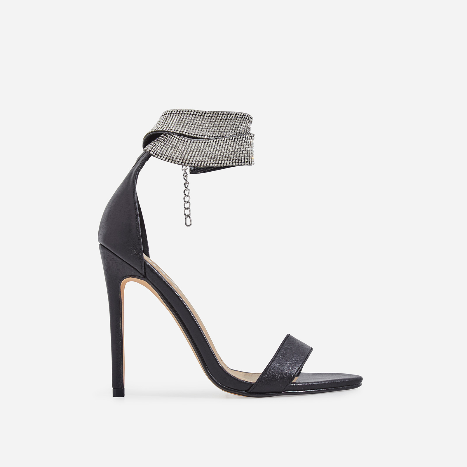 Nuri Diamante Detail Strap Heel In Black Faux Leather